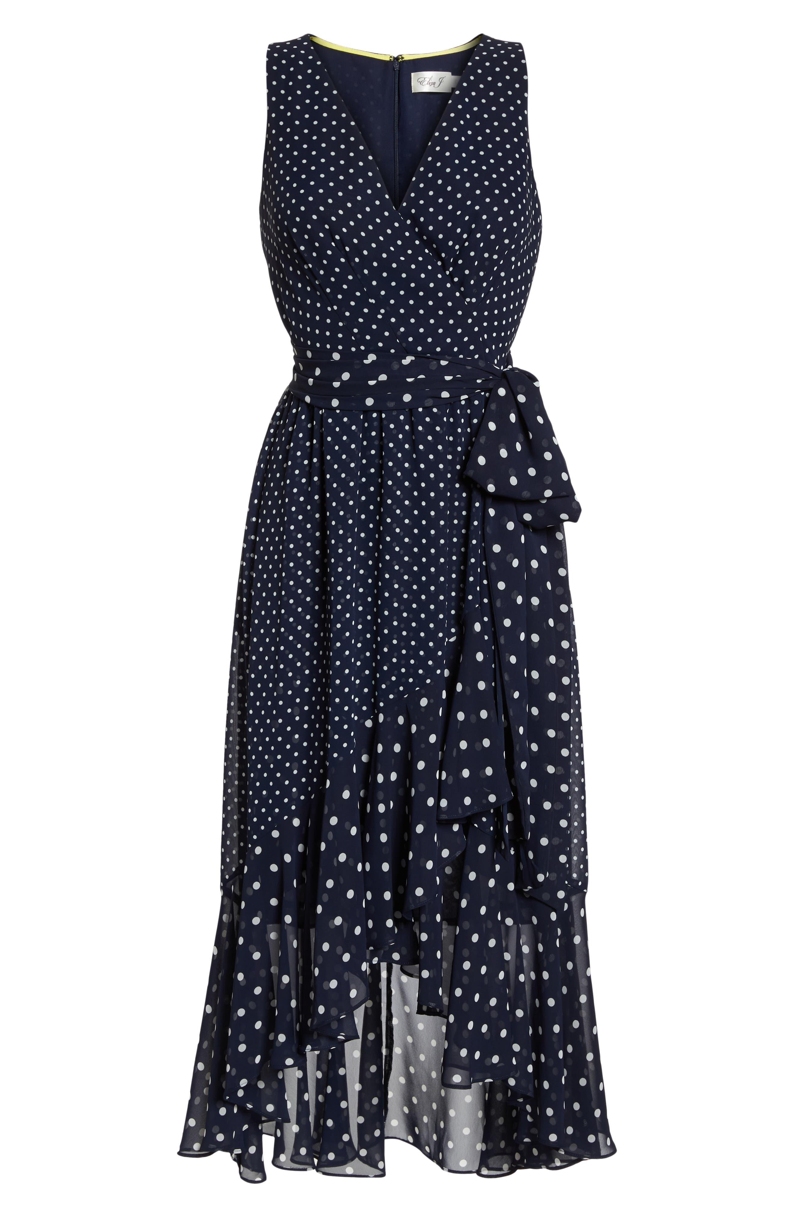 ELIZA J,                             Polka Dot High/Low Hem Dress,                             Alternate thumbnail 7, color,                             407