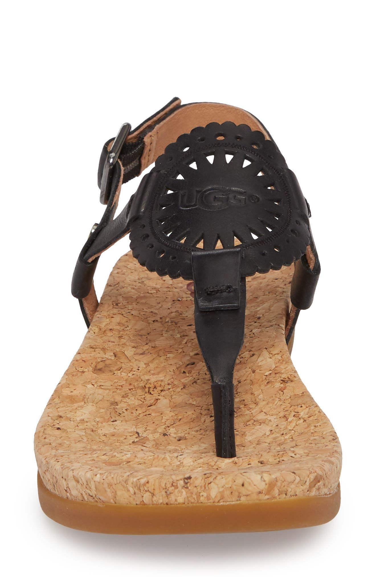 UGG<SUP>®</SUP>,                             Ayden II T-Strap Sandal,                             Alternate thumbnail 4, color,                             BLACK LEATHER
