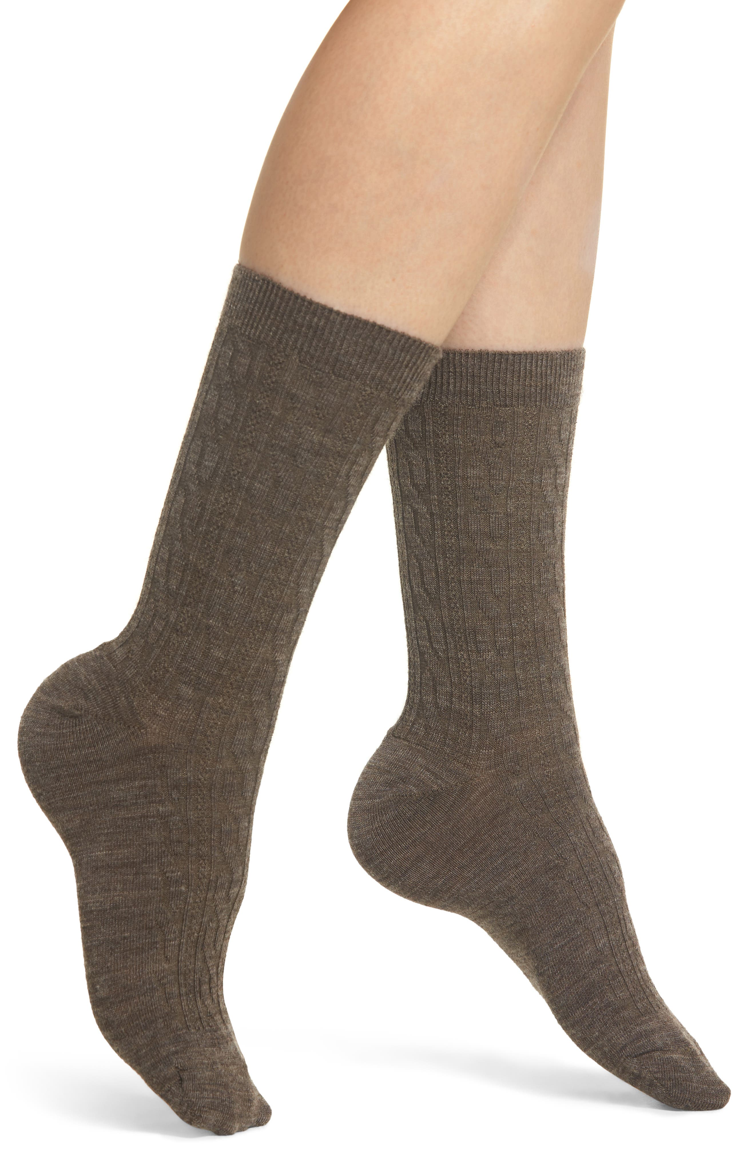 'Cable II' Crew Socks,                             Main thumbnail 1, color,                             TAUPE