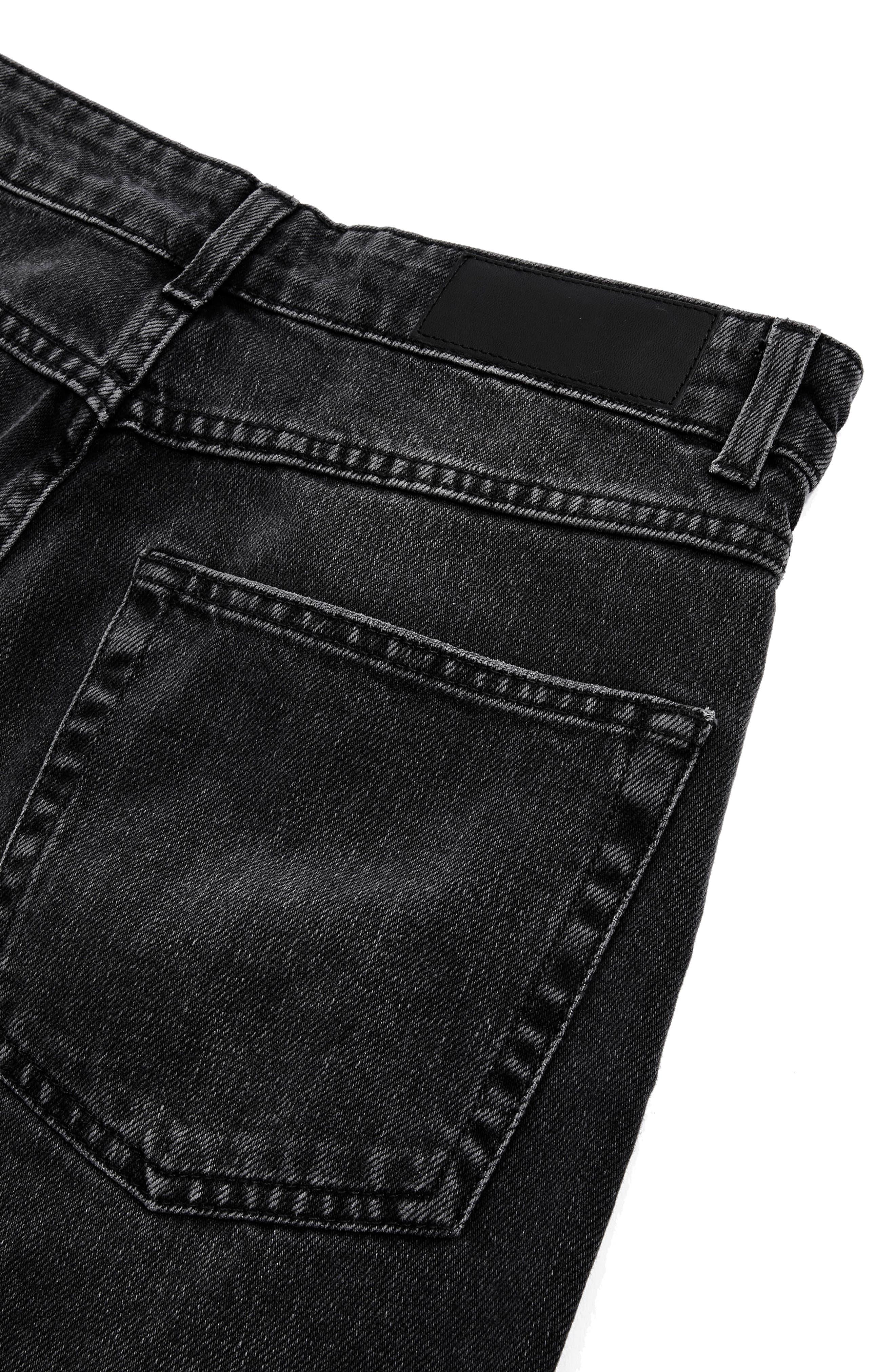 Washed Black Moto Straight Leg Jeans,                             Alternate thumbnail 2, color,                             003