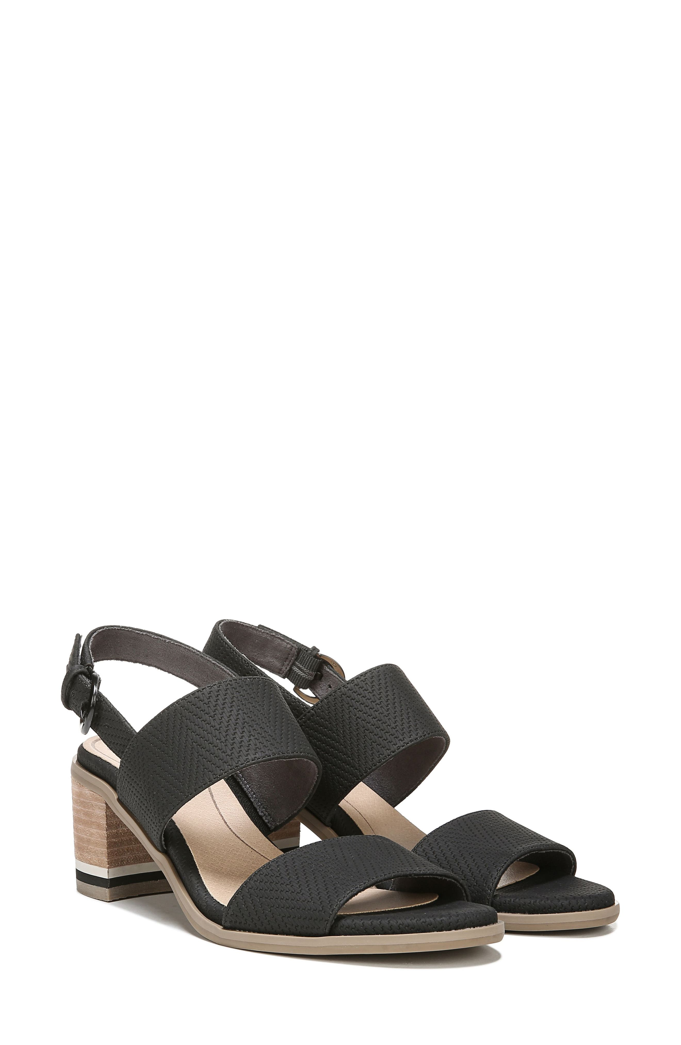 Sure Thing Sandal,                             Alternate thumbnail 8, color,                             BLACK FAUX LEATHER