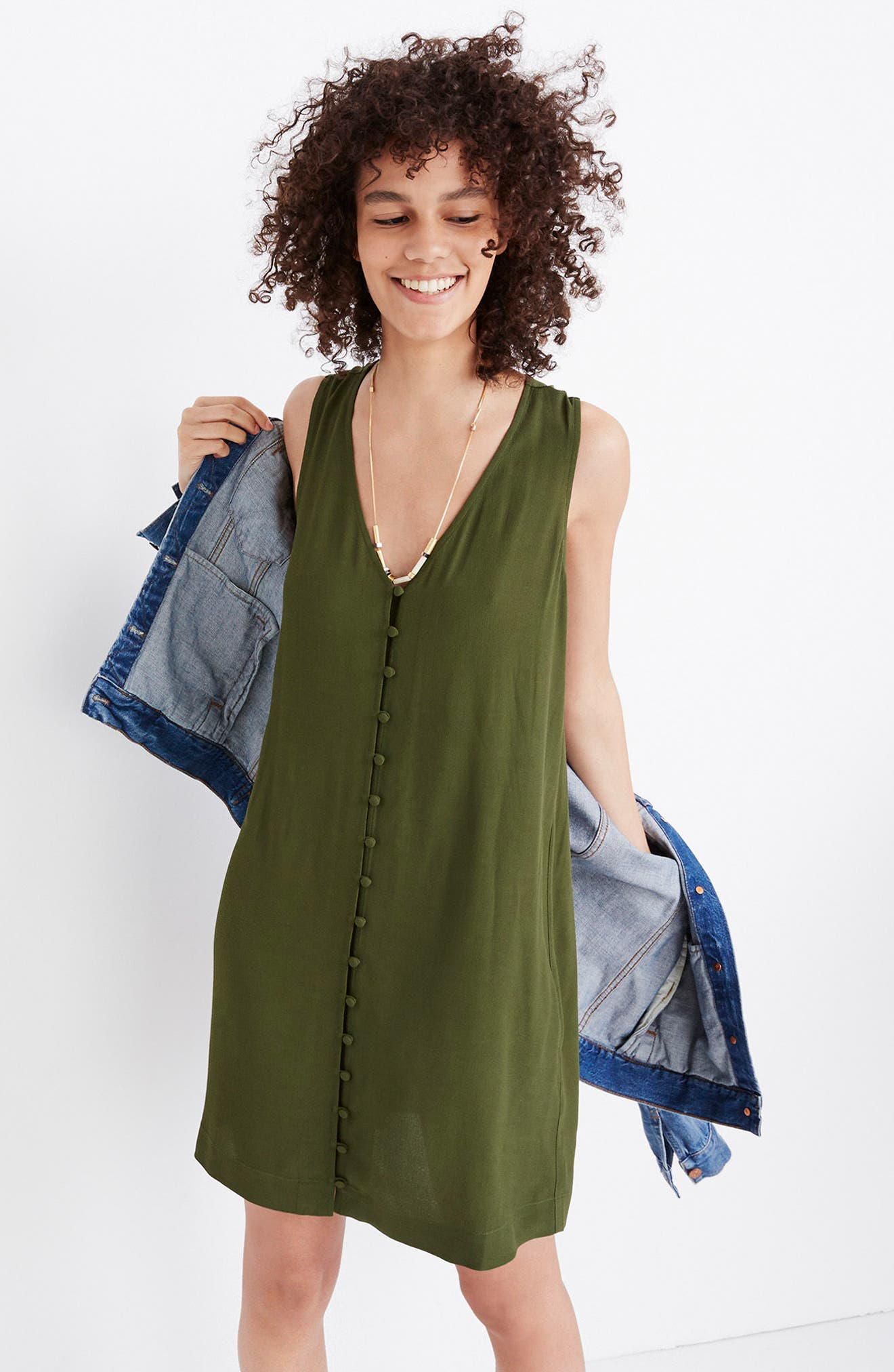 Heather Button Front Dress,                             Alternate thumbnail 4, color,                             SWEET BALSAM