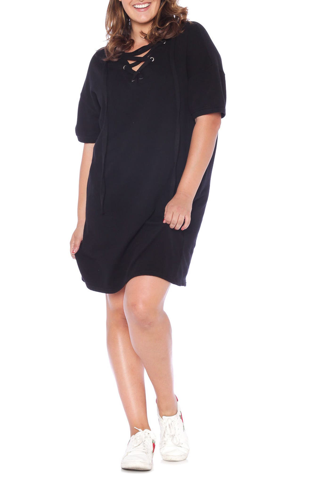 Lace-Up Hoodie Dress,                             Alternate thumbnail 6, color,                             018