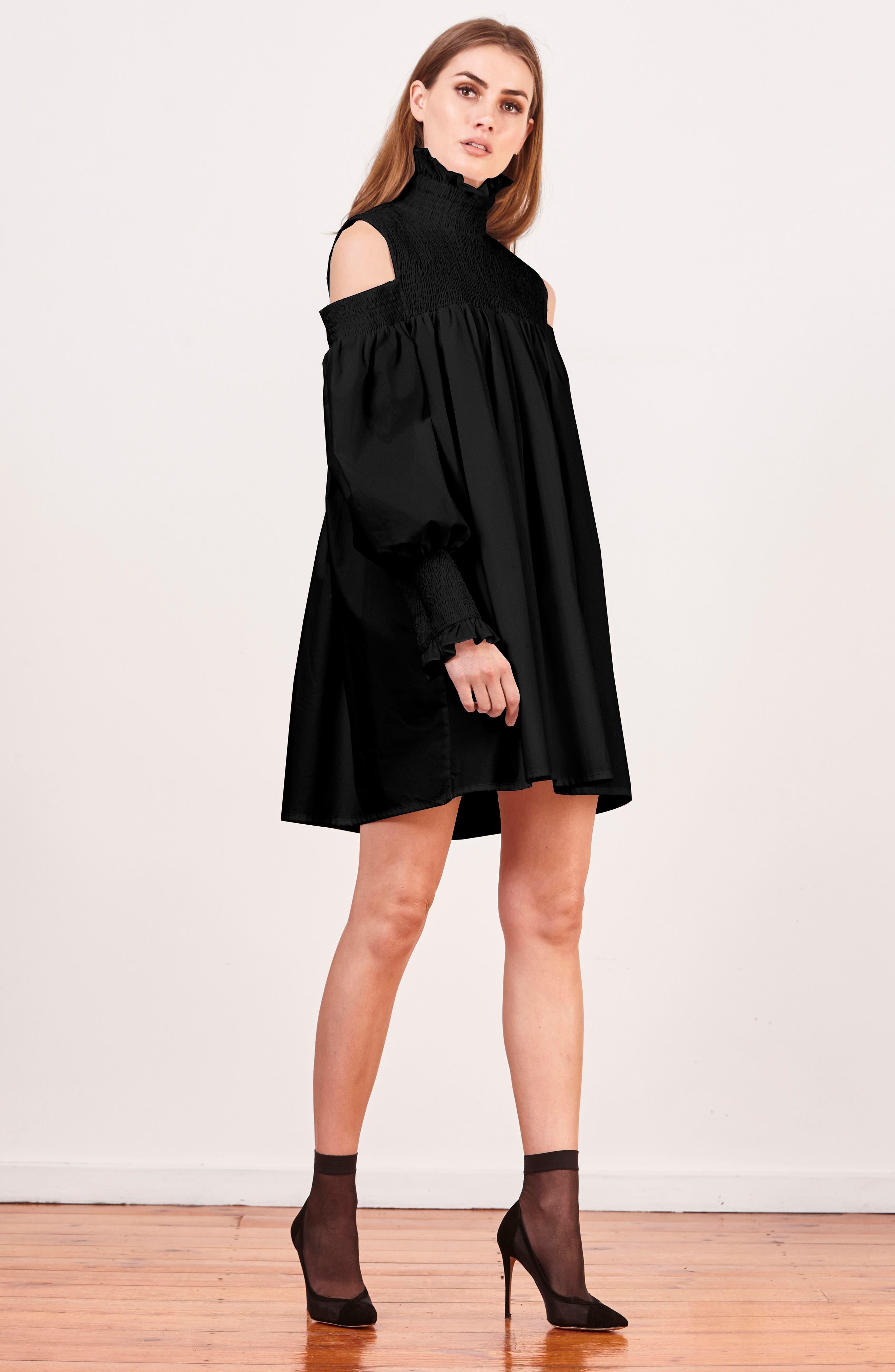 Ivy Cold Shoulder Dress,                             Alternate thumbnail 7, color,                             BLACK COTTON