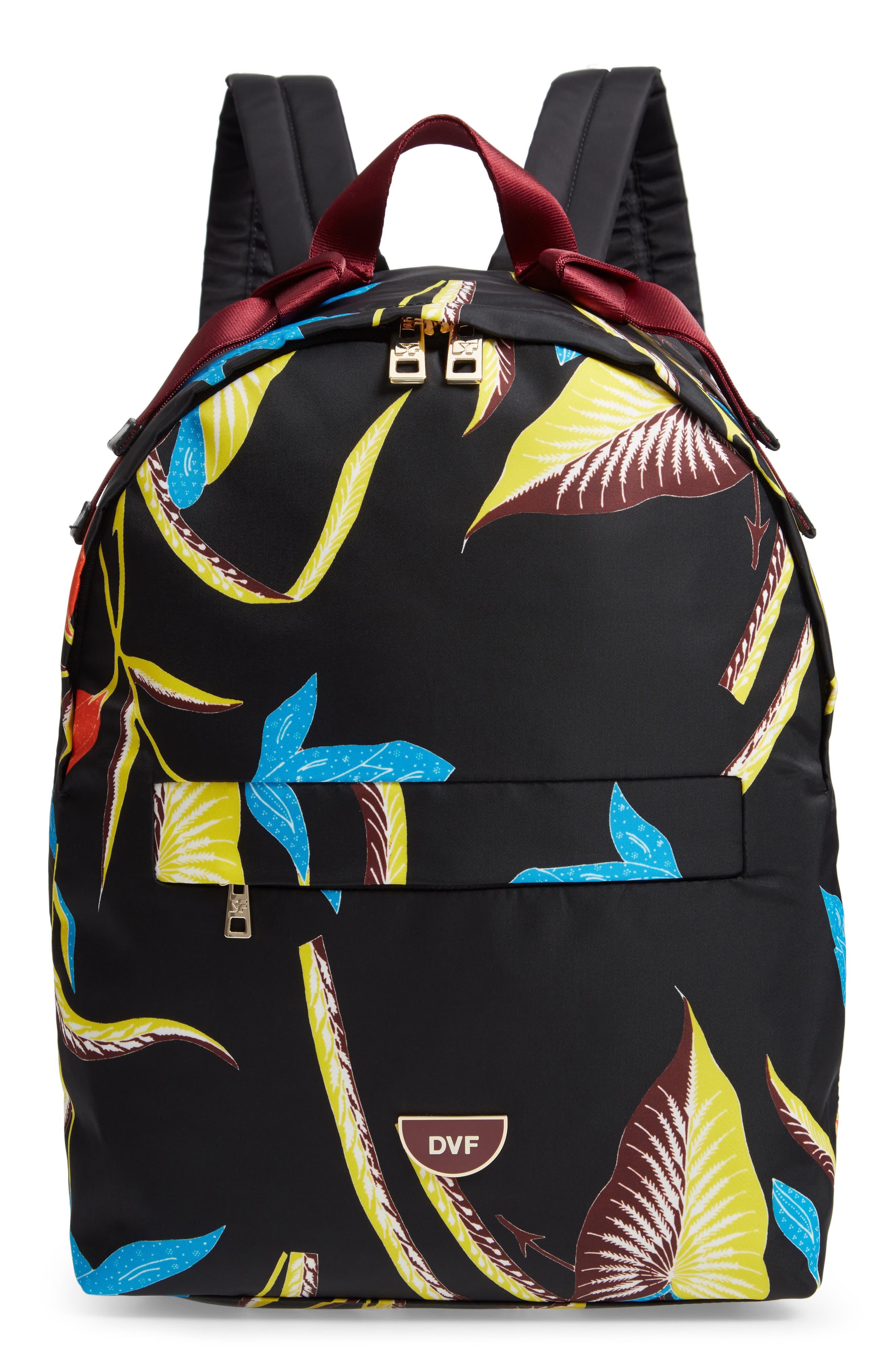 DVF Print Nylon Backpack,                         Main,                         color, OSWALD BLACK