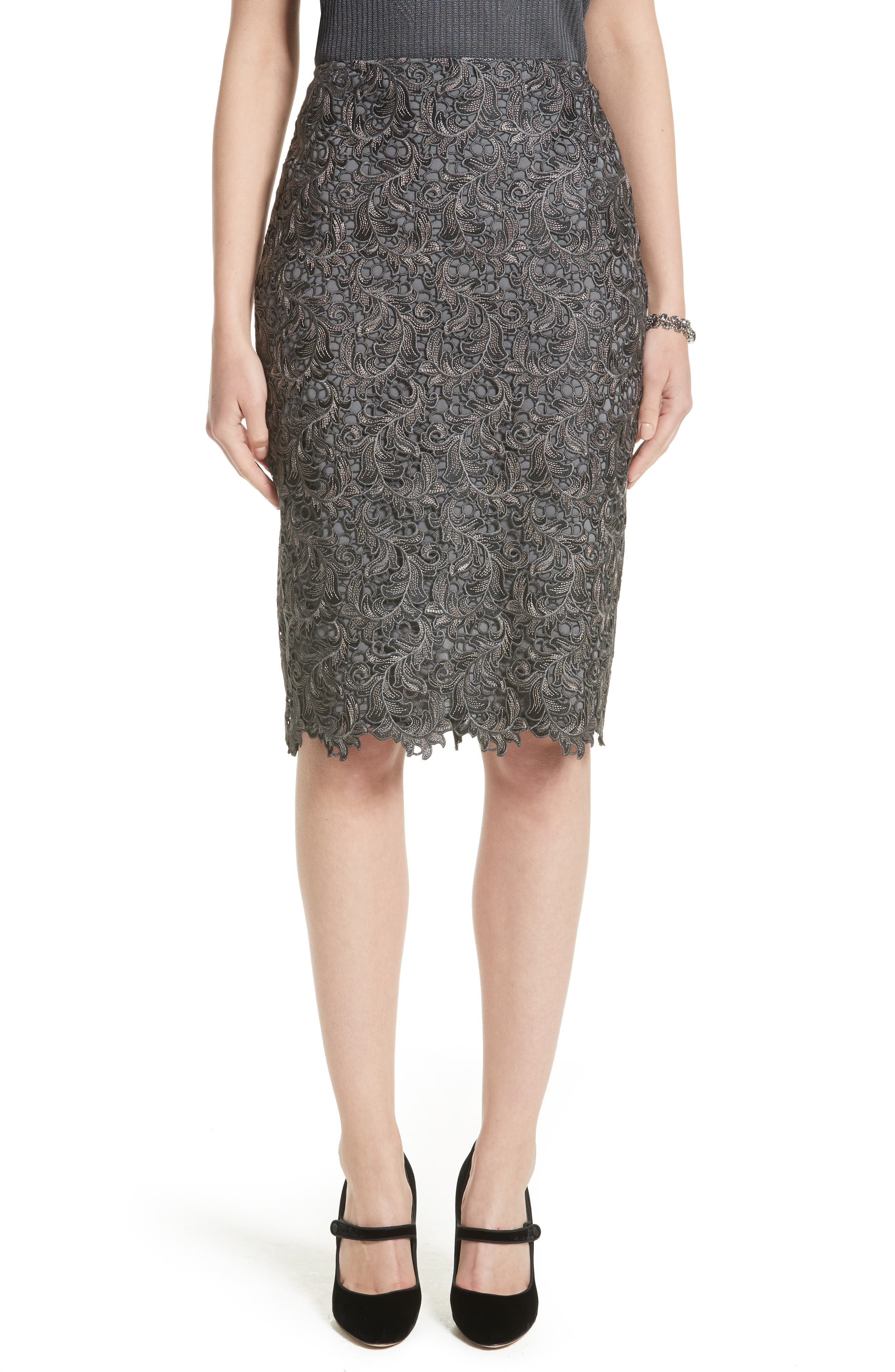 Plume Embroidered Lace Pencil Skirt,                             Main thumbnail 1, color,                             030