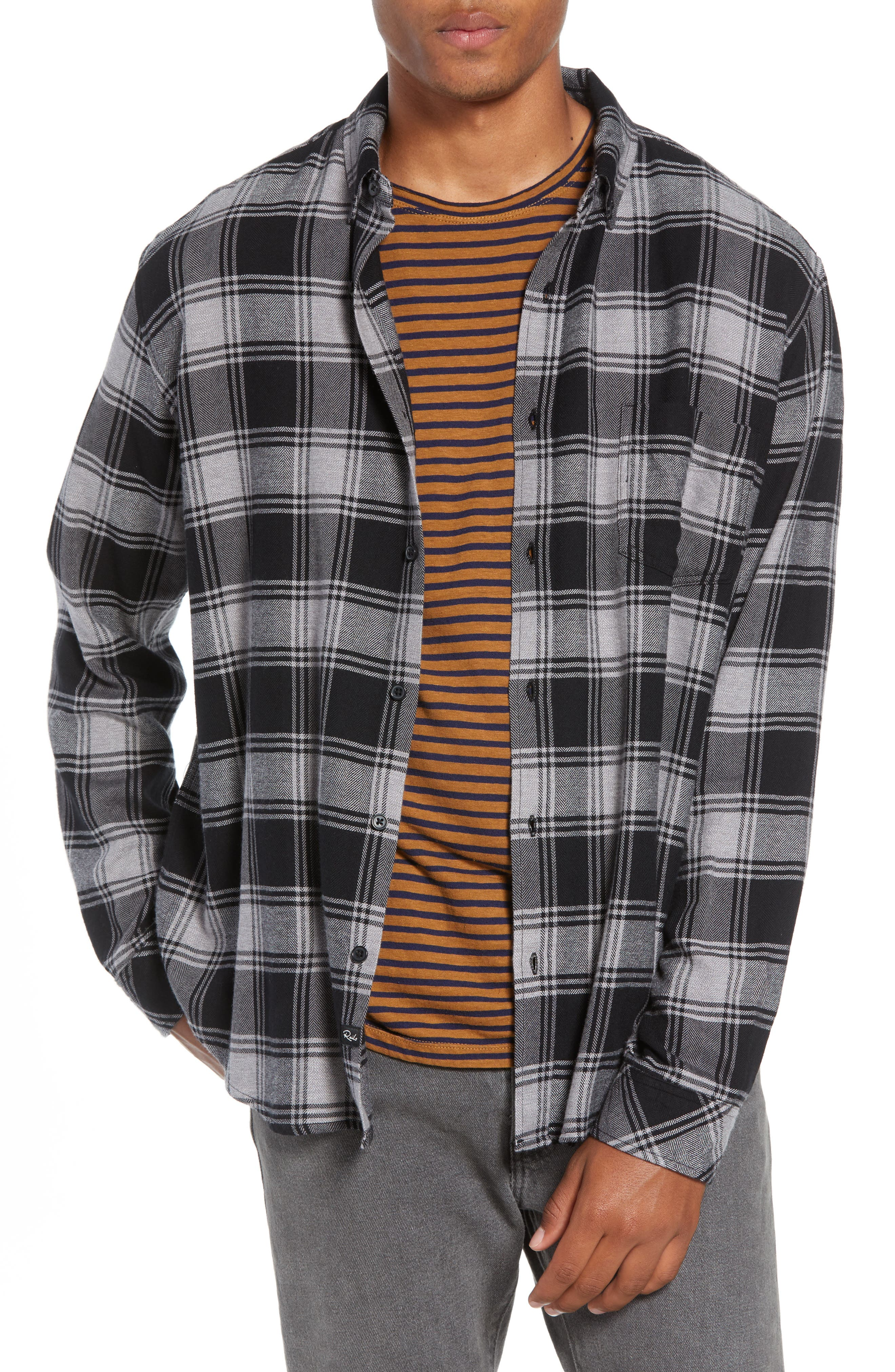 Lennox Slim Fit Plaid Sport Shirt,                         Main,                         color, BLACK GREY