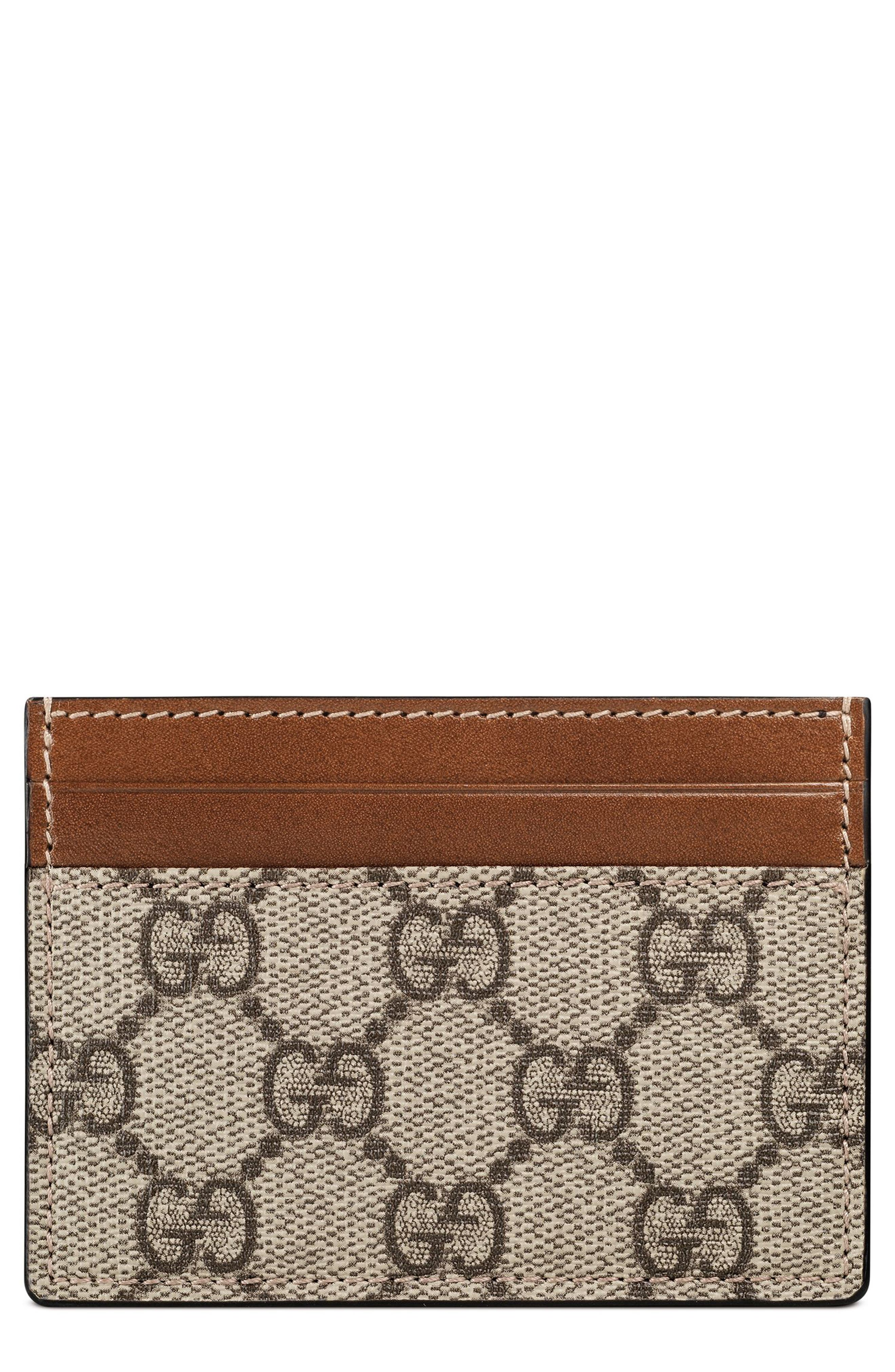 Linea GG Supreme Canvas Card Case,                             Main thumbnail 1, color,                             BEIGE EBONY/ CUIR