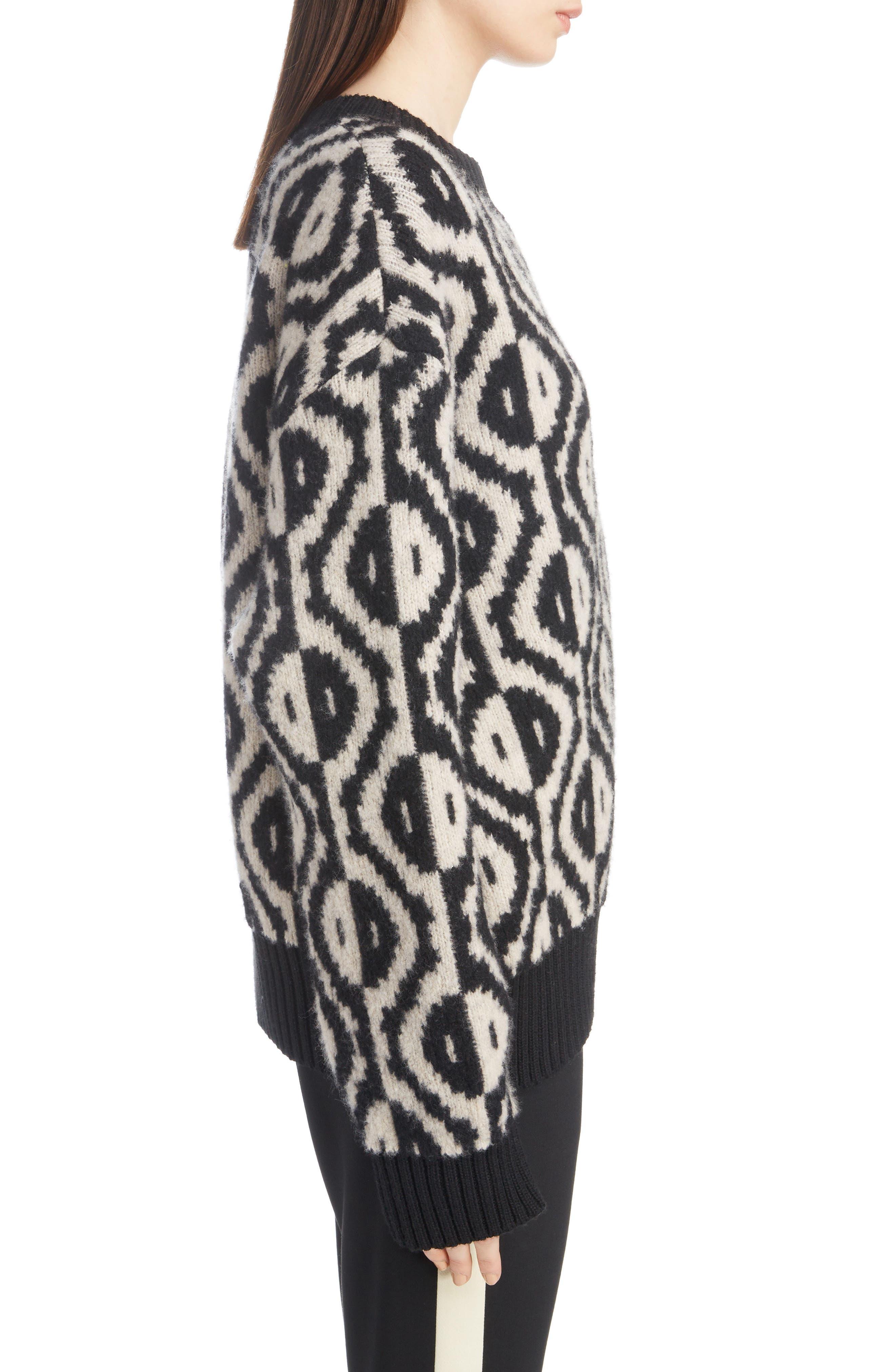 Geo Jacquard Merino Wool Blend Sweater,                             Alternate thumbnail 3, color,                             001
