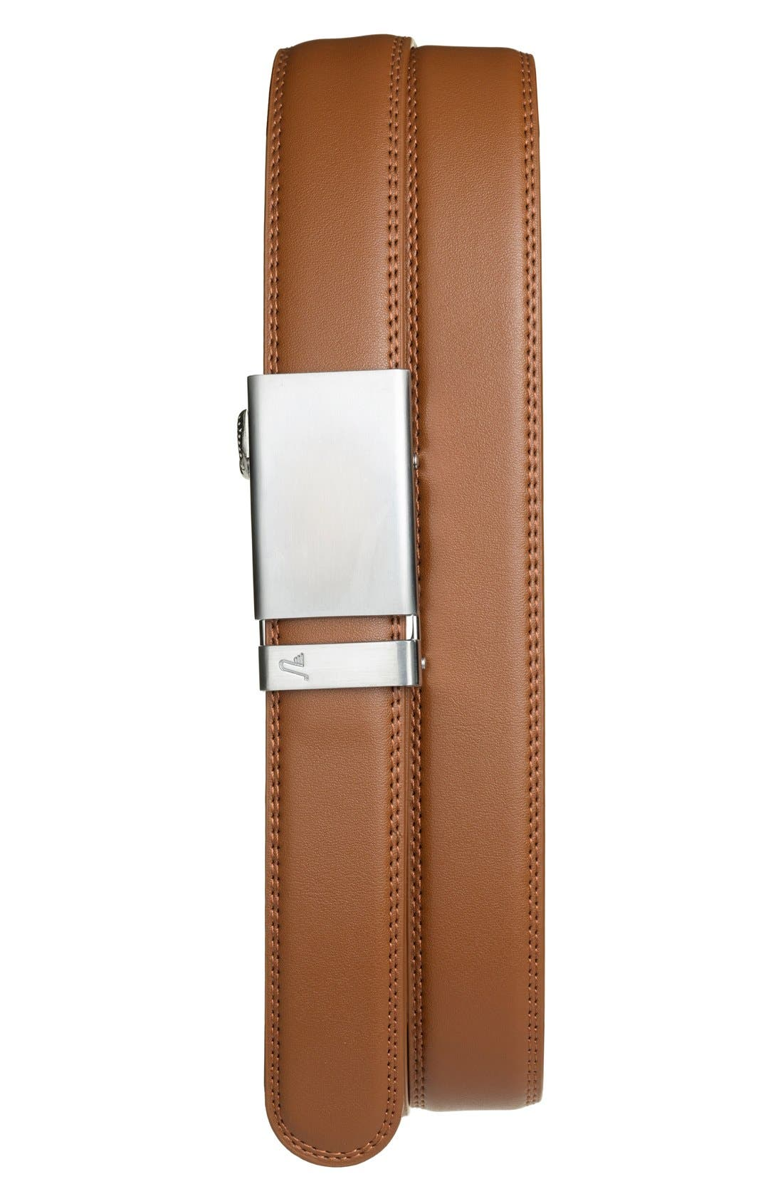'Cocoa' Leather Belt,                         Main,                         color, ALLOY/ TAN