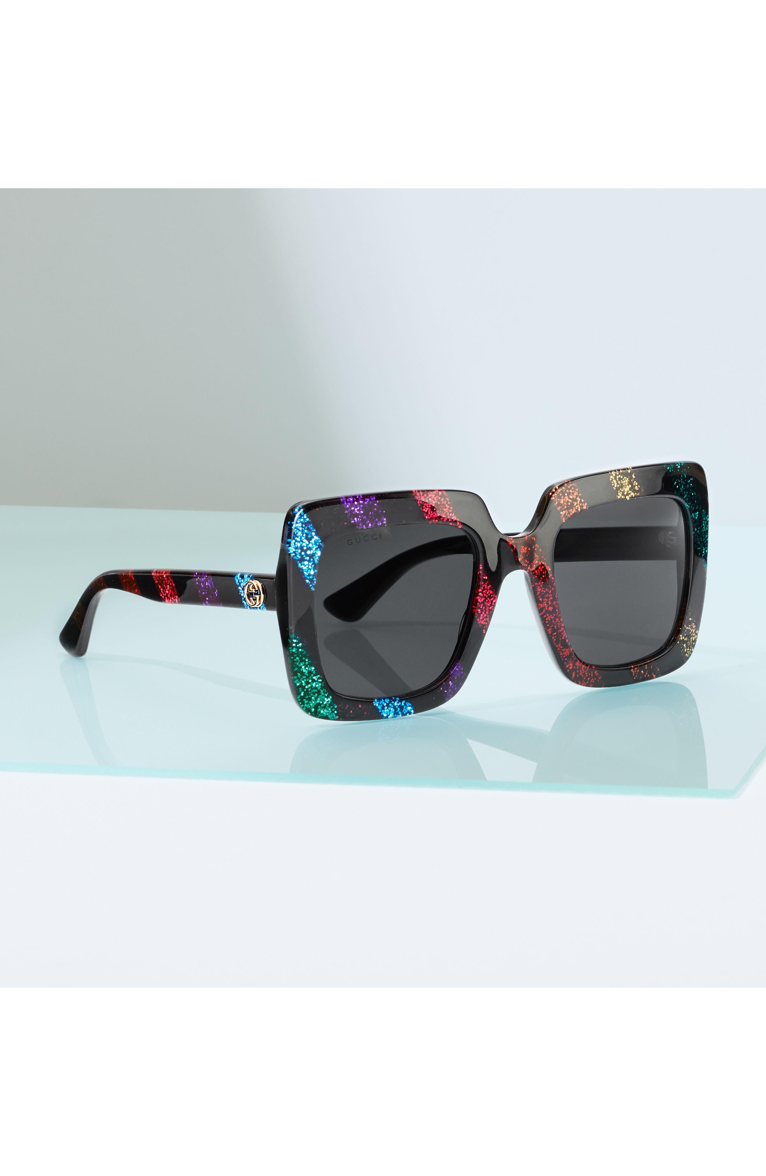 53mm Glitter Stripe Square Sunglasses,                             Alternate thumbnail 4, color,                             RAINBOW