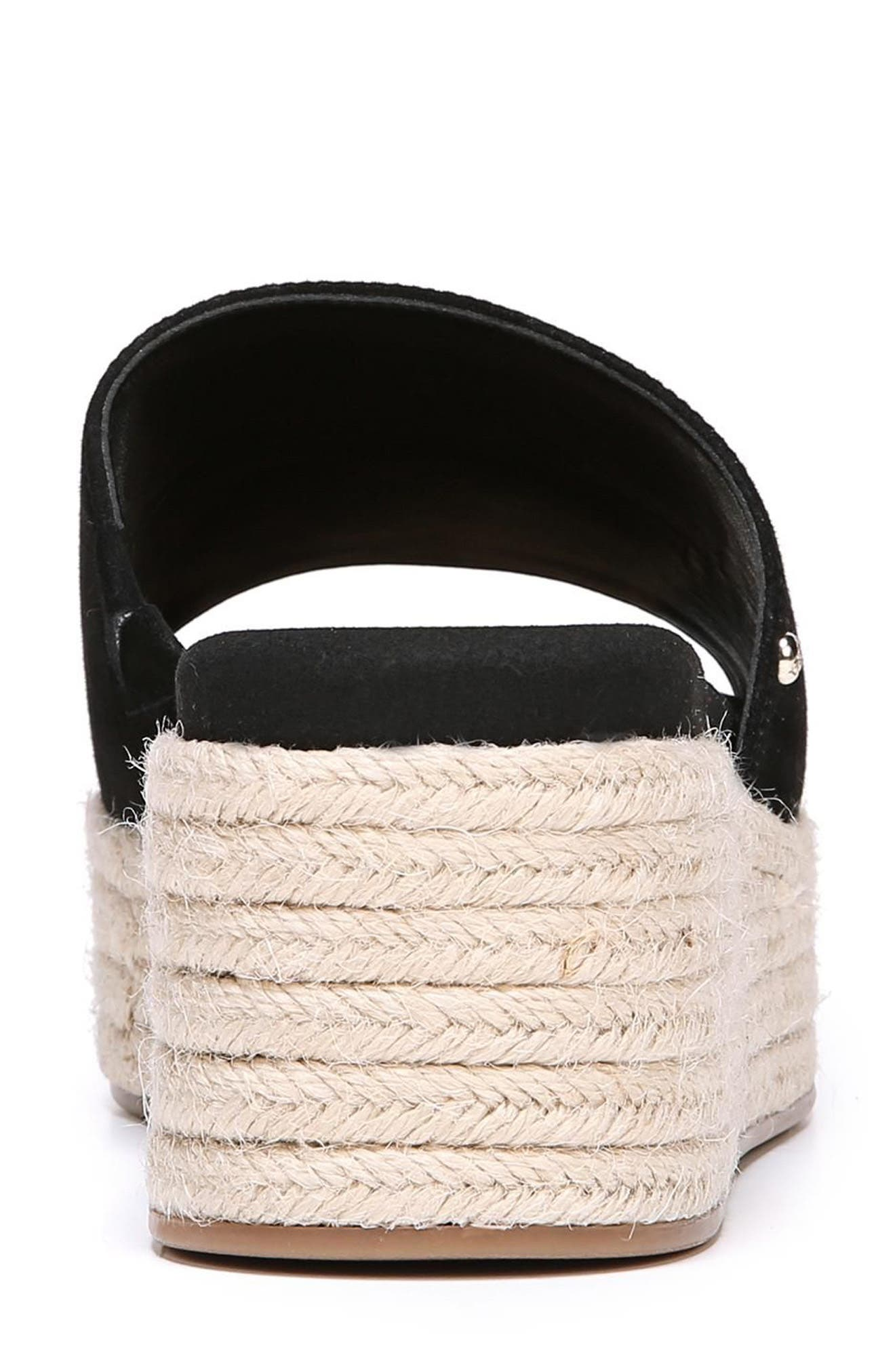 Weslee Platform Slide Sandal,                             Alternate thumbnail 8, color,                             BLACK SUEDE