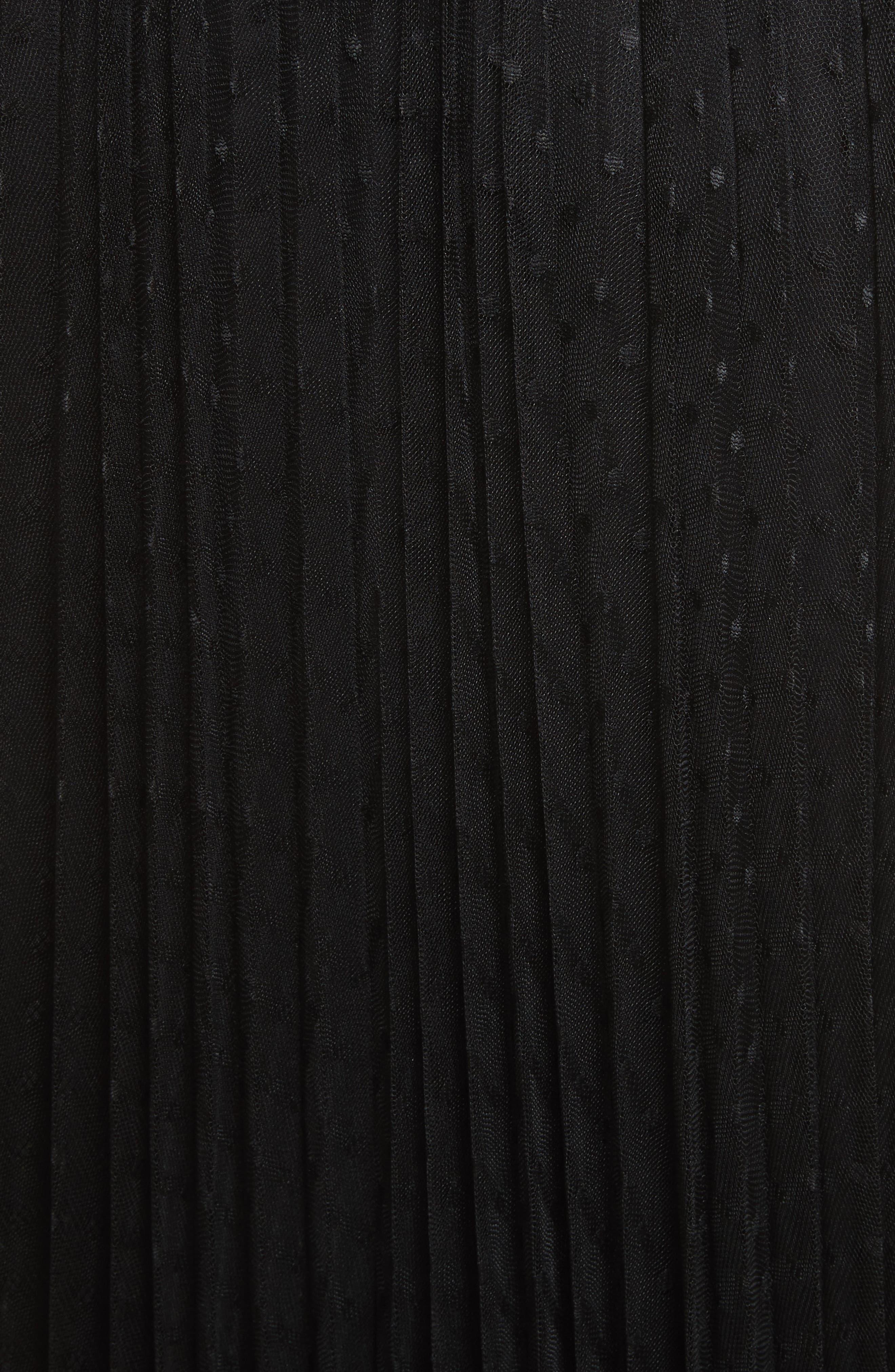 Pleated Polka Dot Mesh Midi Skirt,                             Alternate thumbnail 5, color,                             001