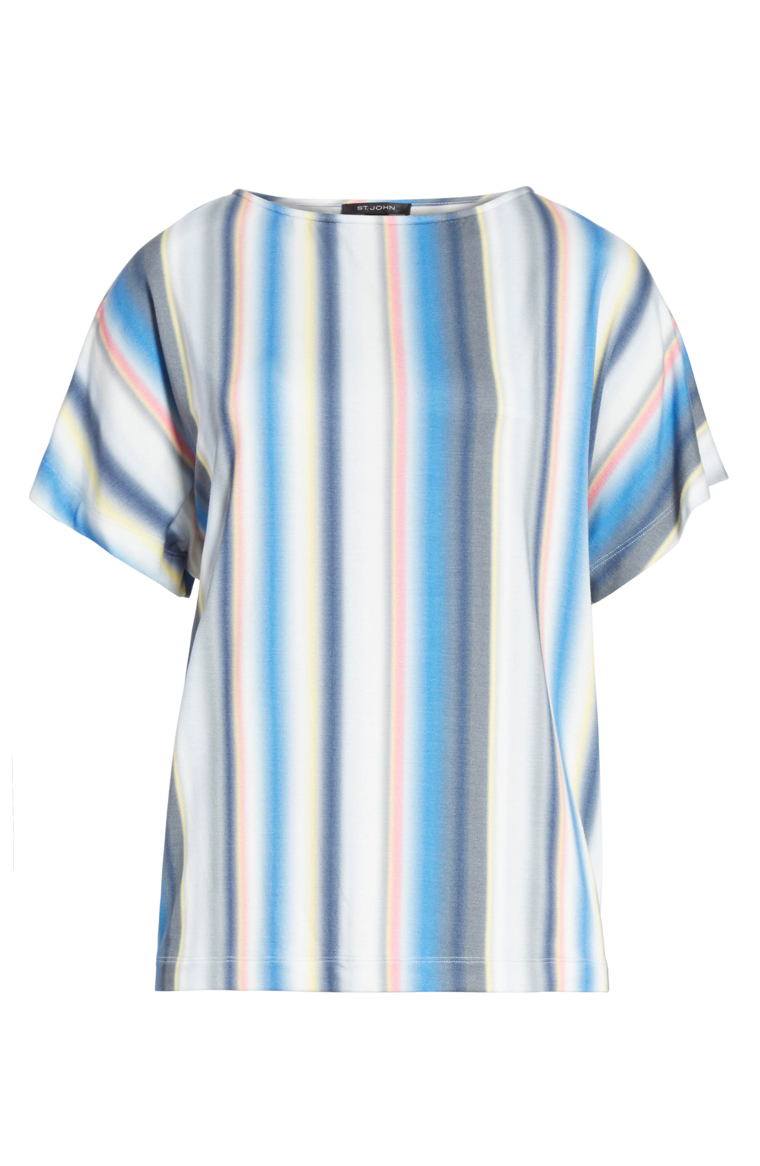 Blurred Stripe Jersey Top,                             Alternate thumbnail 6, color,                             420