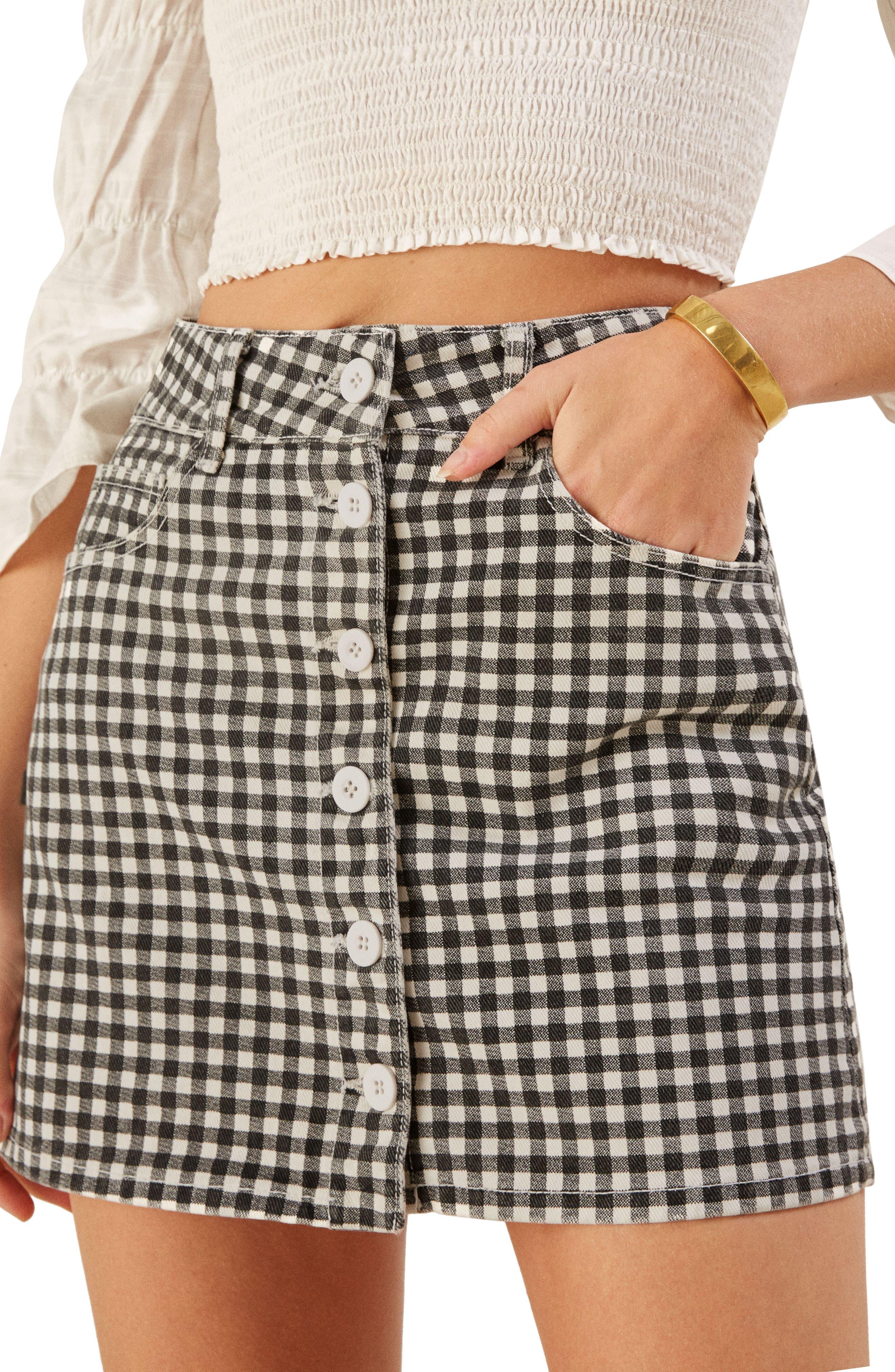 REFORMATION Bianca Denim Miniskirt, Main, color, 001