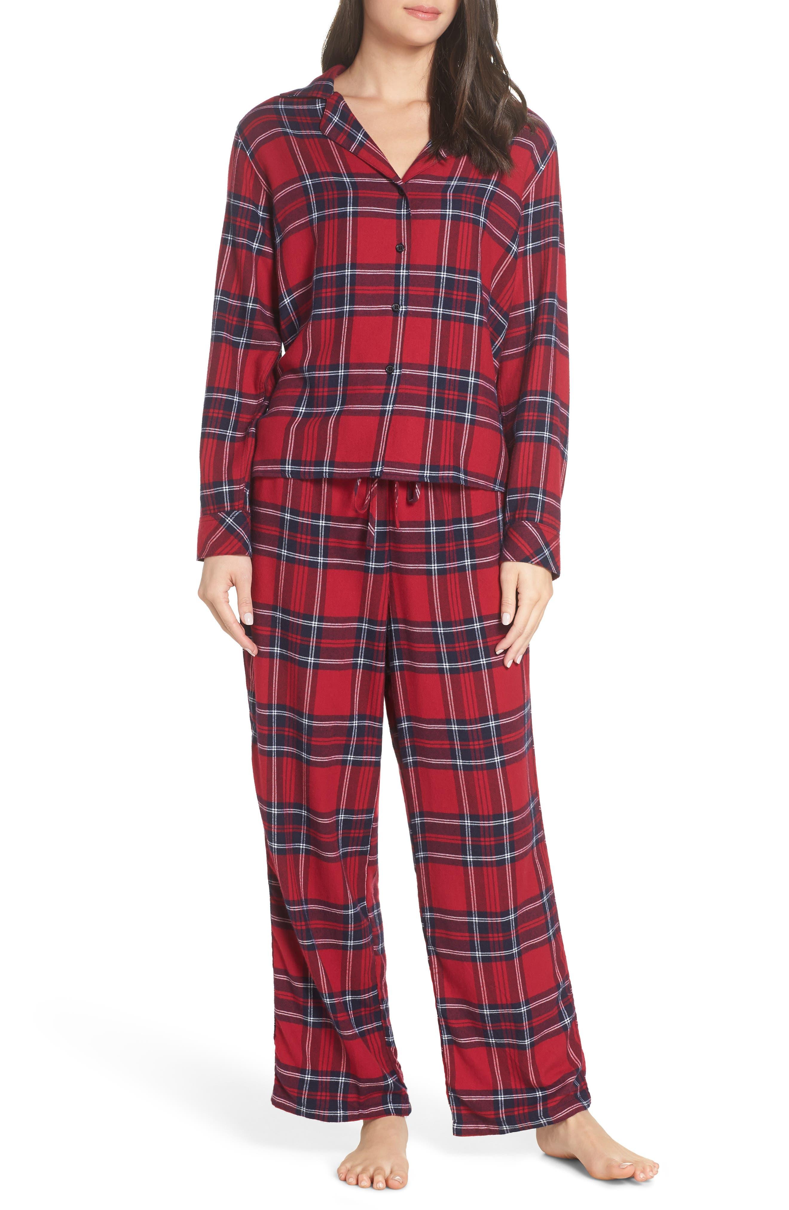 Plaid Pajamas,                             Main thumbnail 1, color,                             SCARLET NAVY WHITE