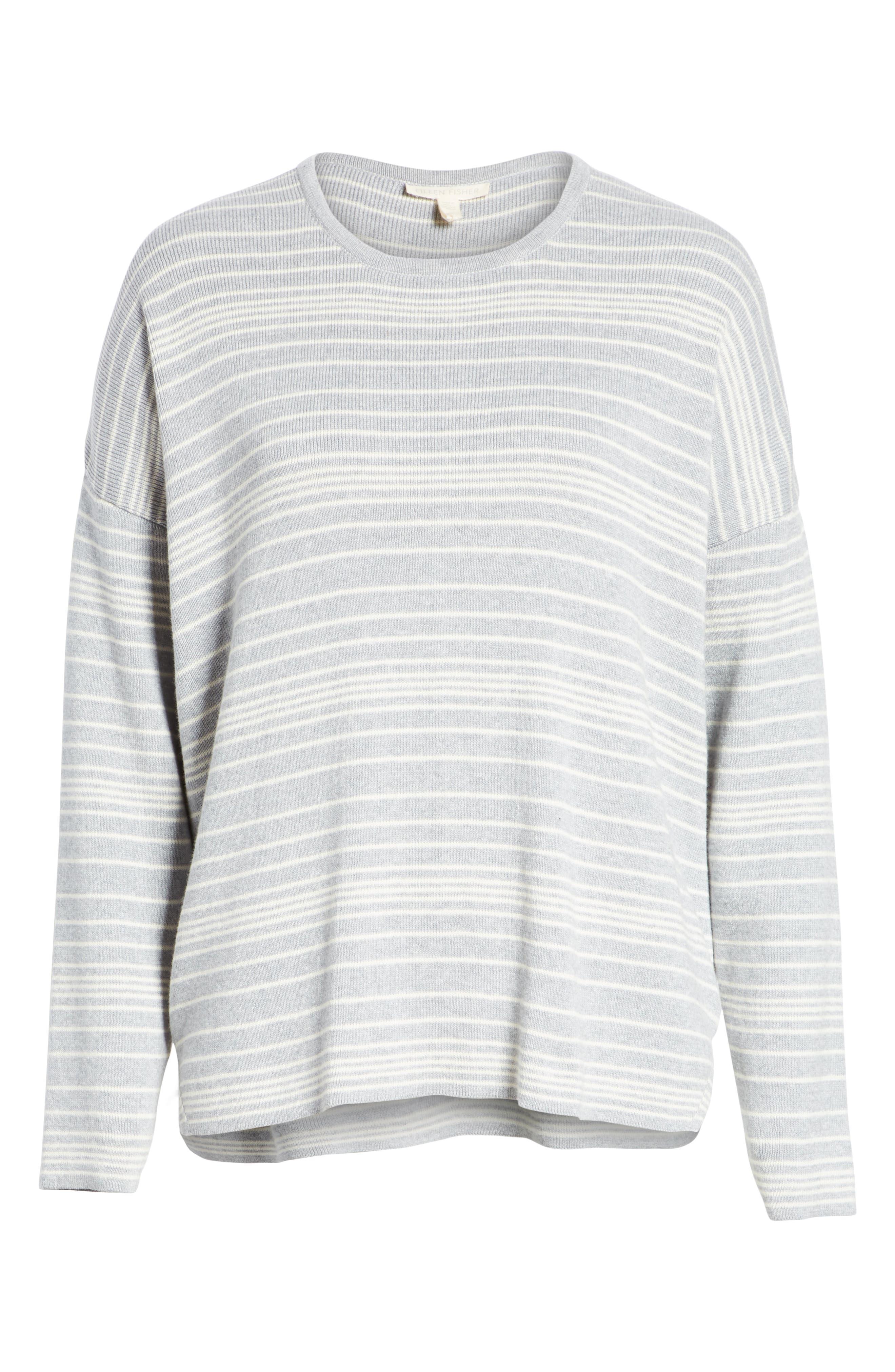 Stripe Organic Cotton Sweater,                             Alternate thumbnail 6, color,                             038