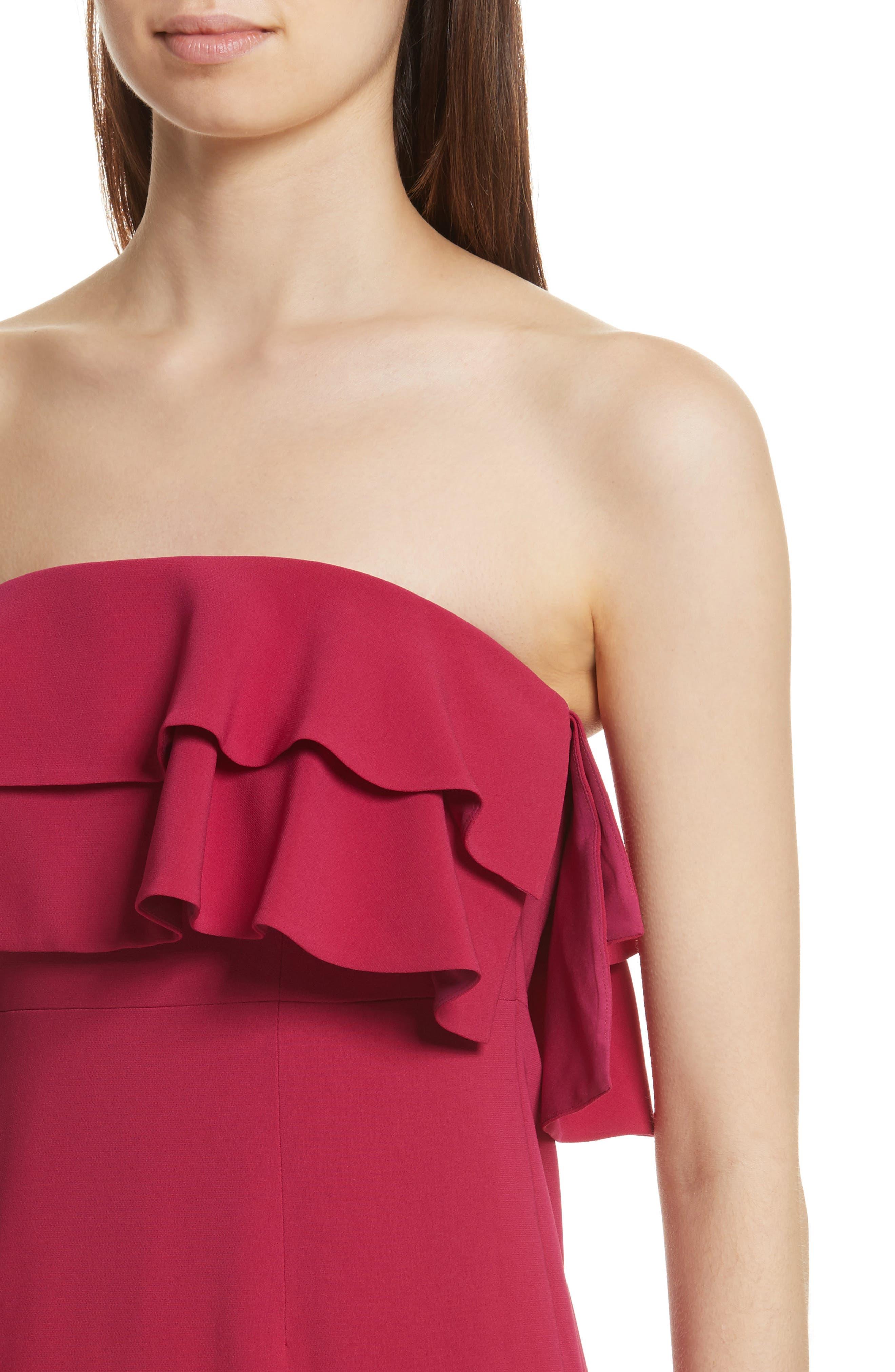 Ezana Ruffle Strapless Mermaid Dress,                             Alternate thumbnail 4, color,                             698