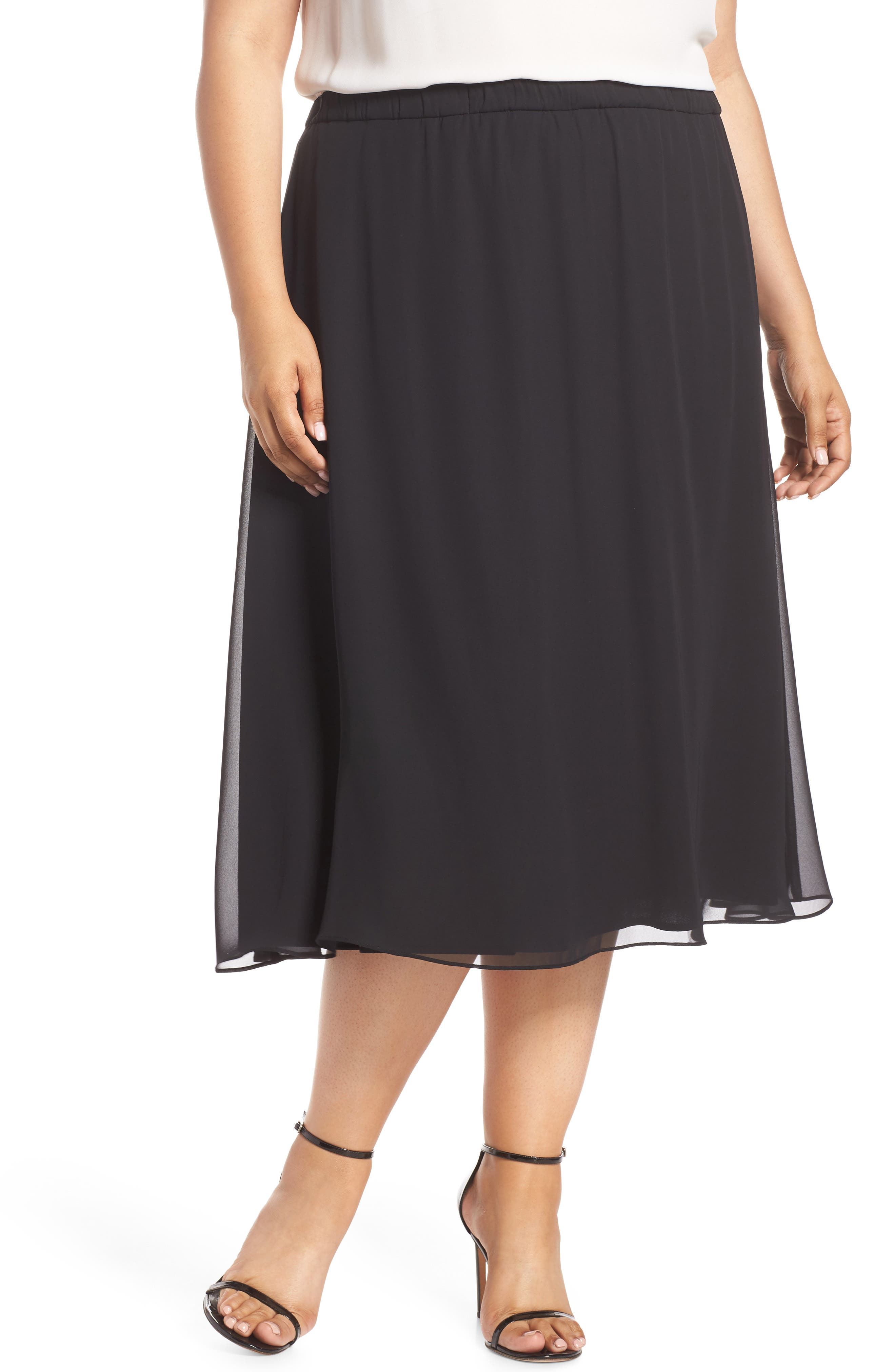 Plus Size Alex Evenings Chiffon A-Line Skirt, Black