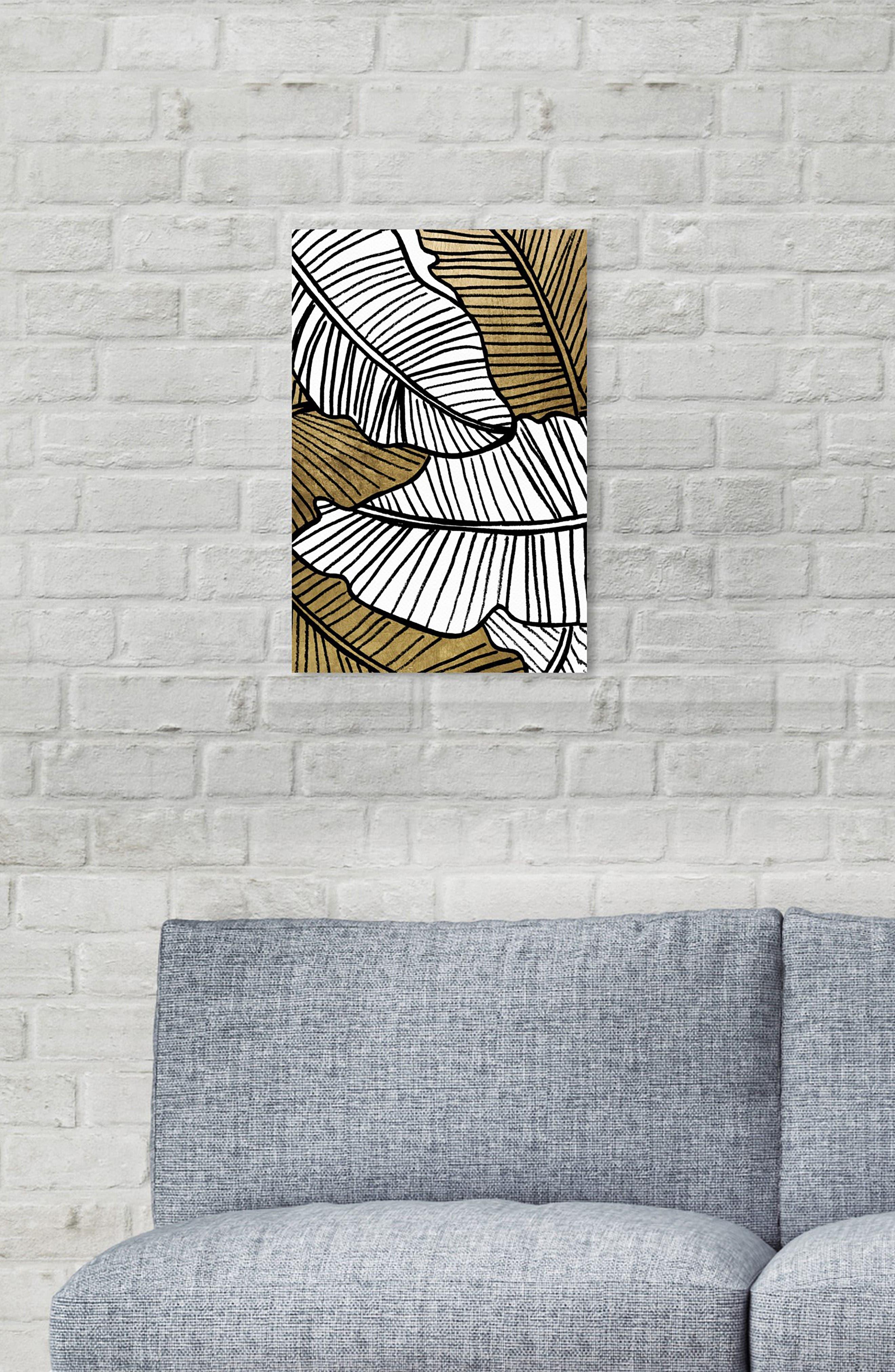 Golden Leaf Canvas Wall Art,                             Alternate thumbnail 2, color,                             BLACK WHITE GOLD