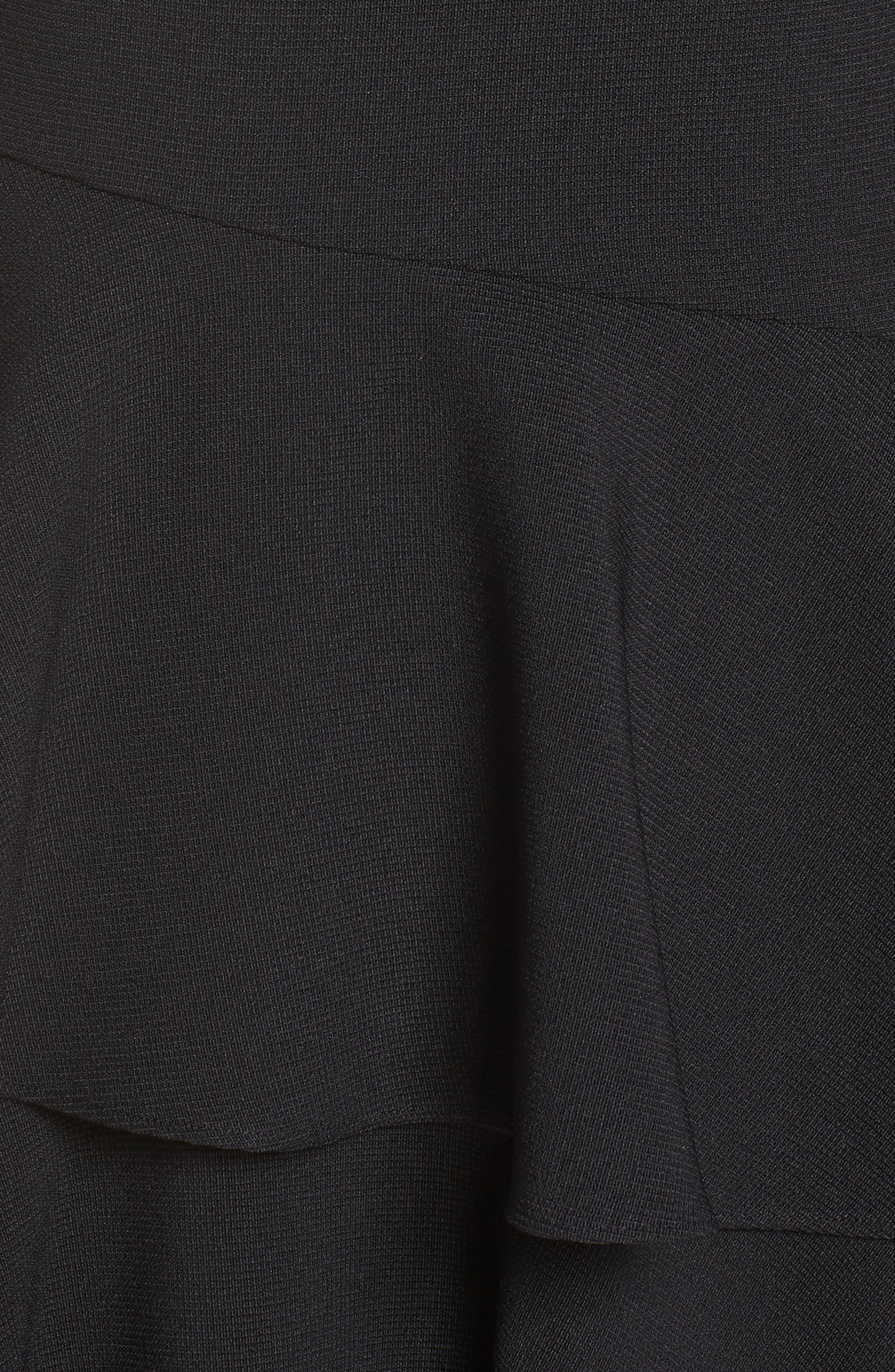 Tiered Ruffle Knit Dress,                             Alternate thumbnail 6, color,                             BLACK