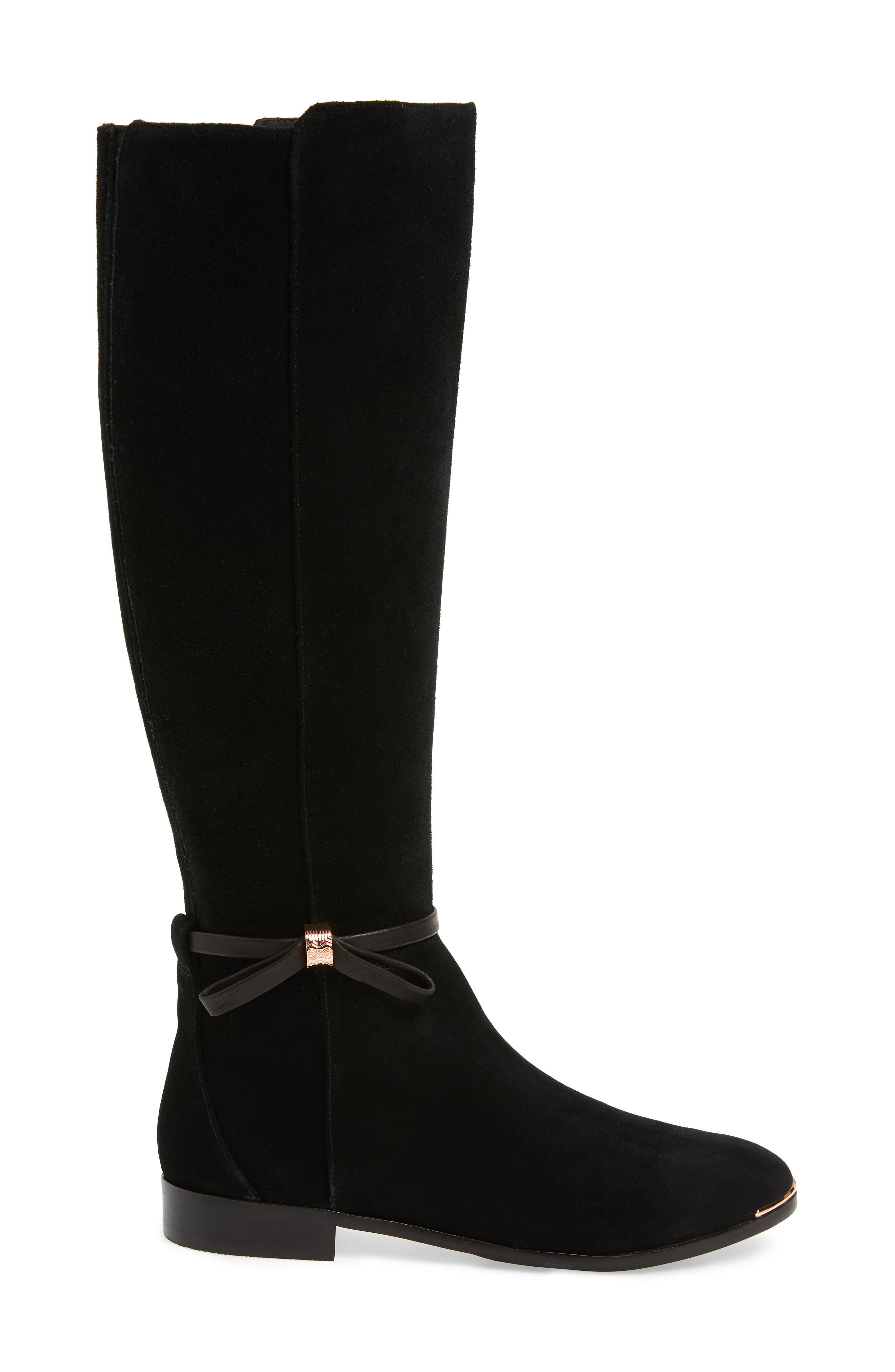 Lykla Knee High Boot,                             Alternate thumbnail 3, color,                             BLACK SUEDE