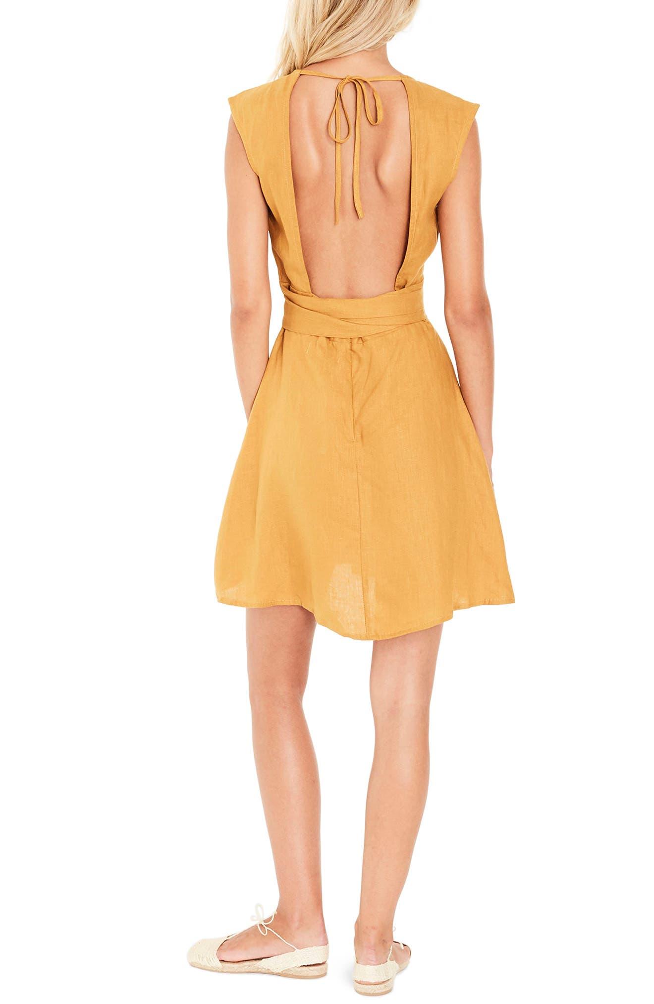 Bari Tie Waist Linen Dress,                             Alternate thumbnail 2, color,                             PLAIN MARIGOLD