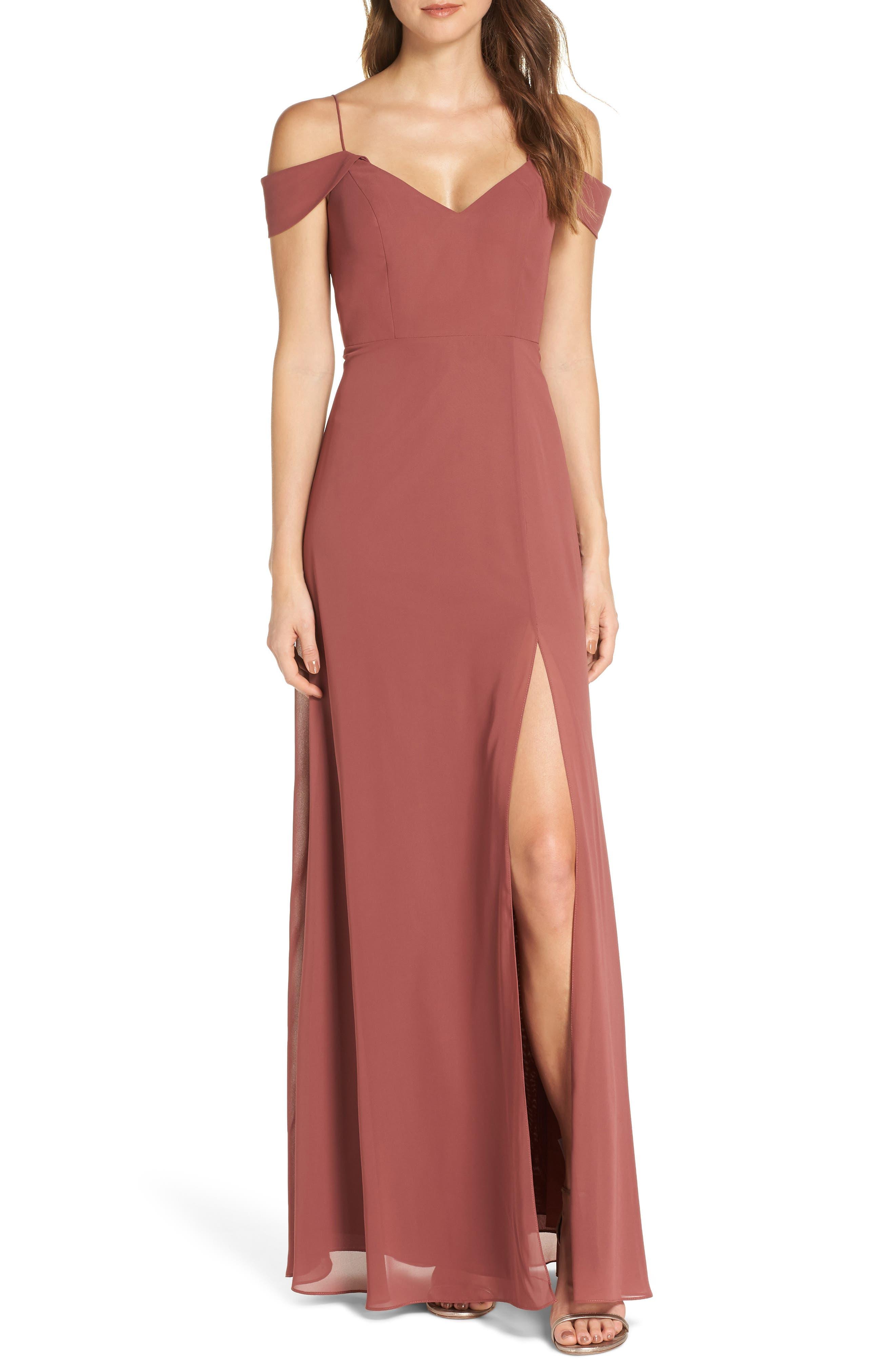 Jenny Yoo Priya Cold Shoulder Chiffon Evening Dress, Red