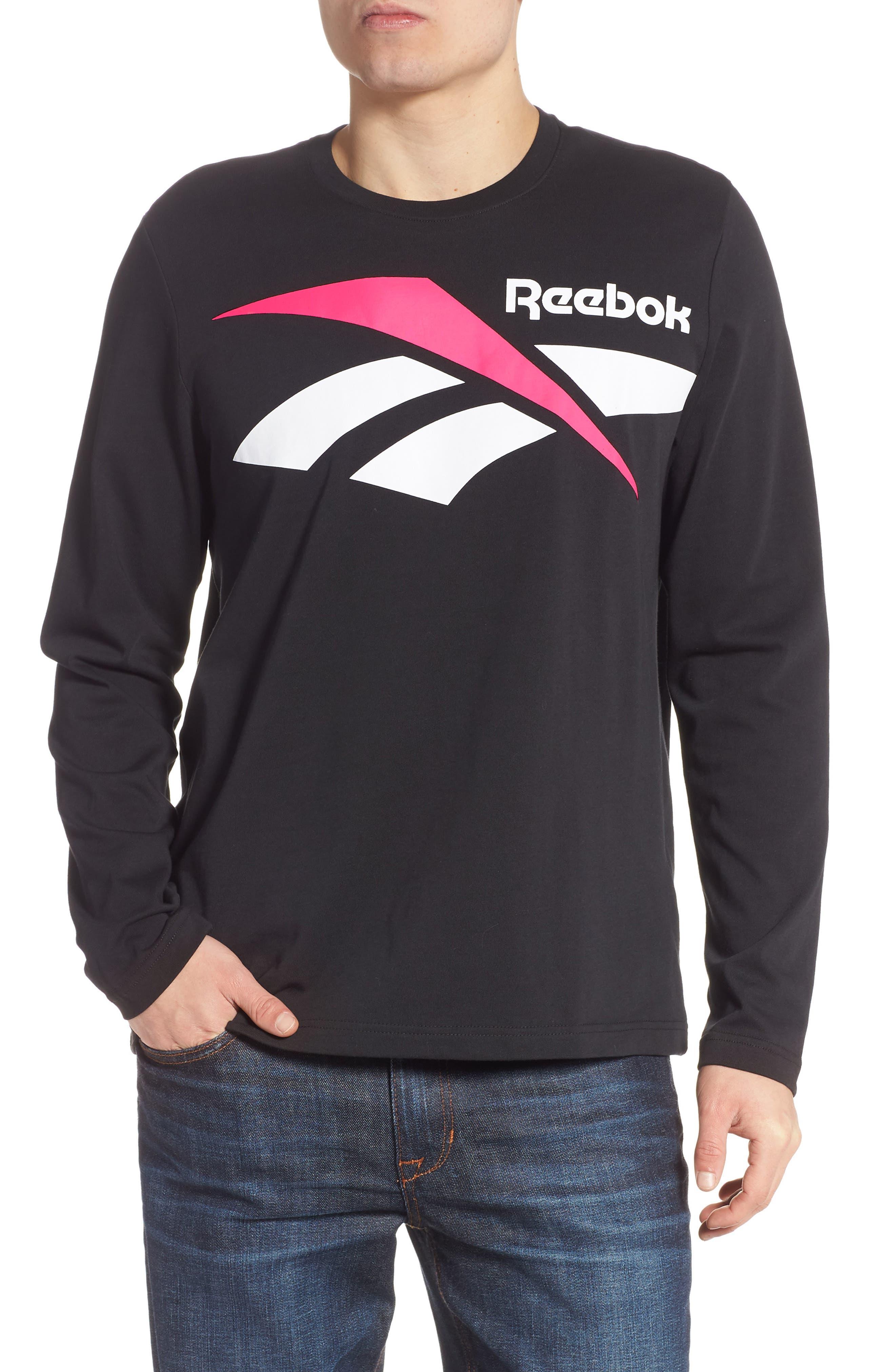 Reebok Classics Vector Logo Long Sleeve T-Shirt, Black