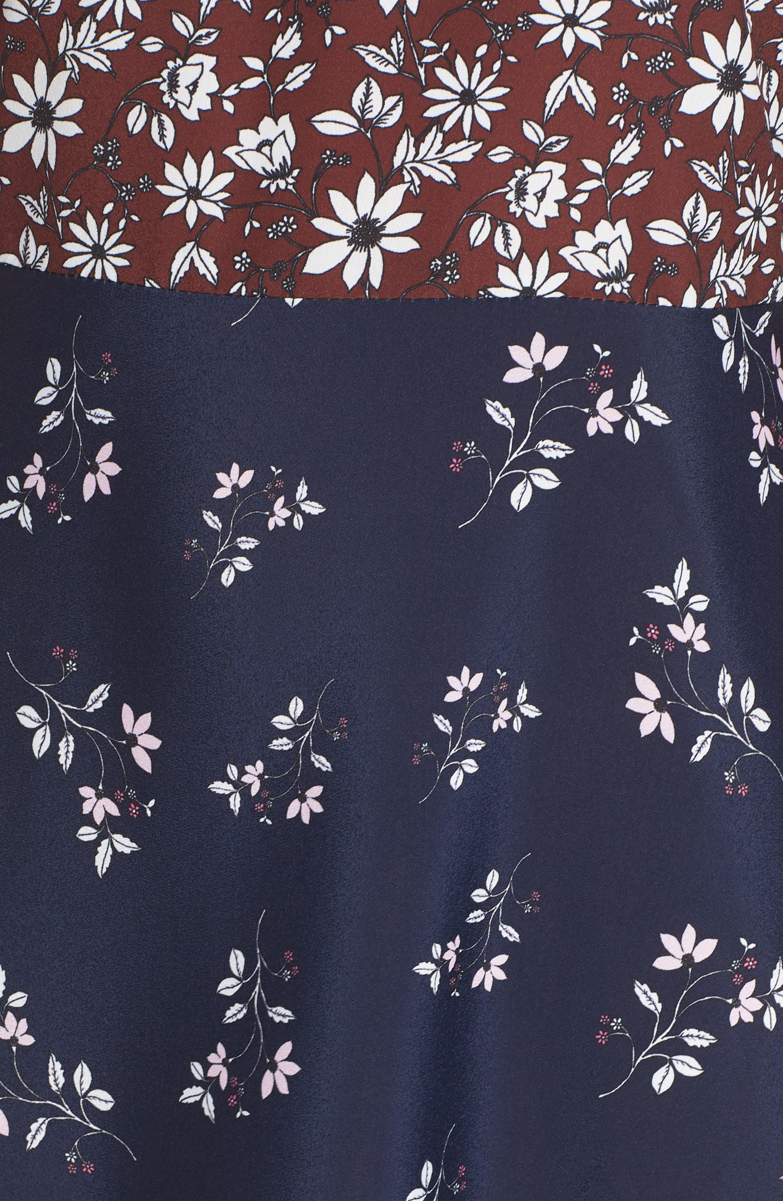 Colorblock Floral Woven Dress,                             Alternate thumbnail 6, color,                             400