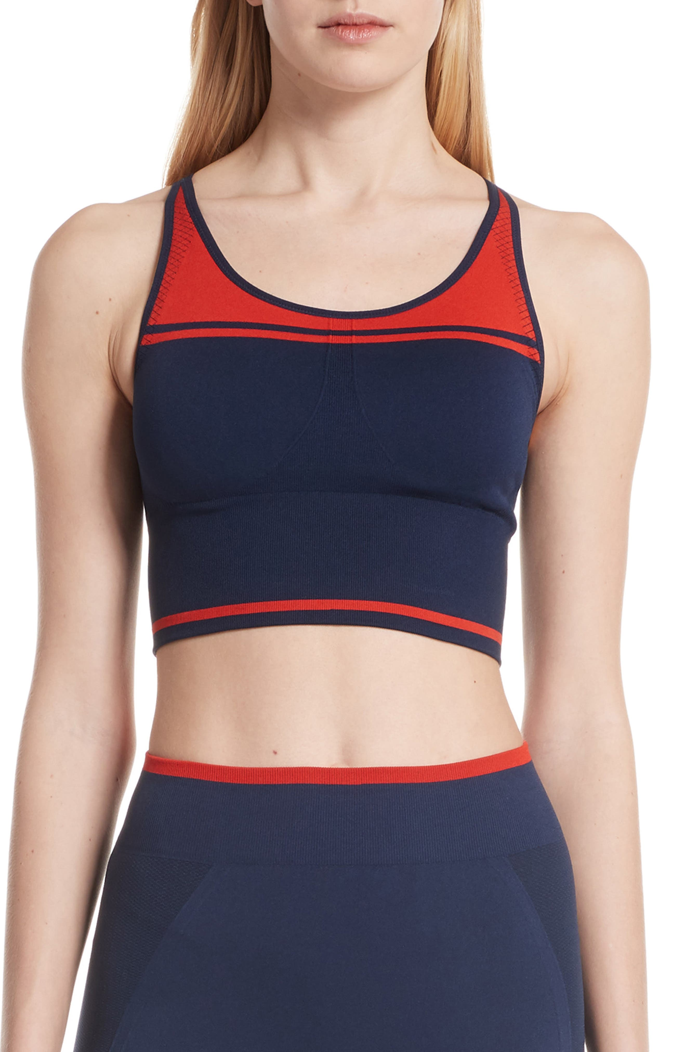 Two-Tone Seamless Camisole Long Bra,                             Main thumbnail 1, color,                             TORY NAVY/ RED
