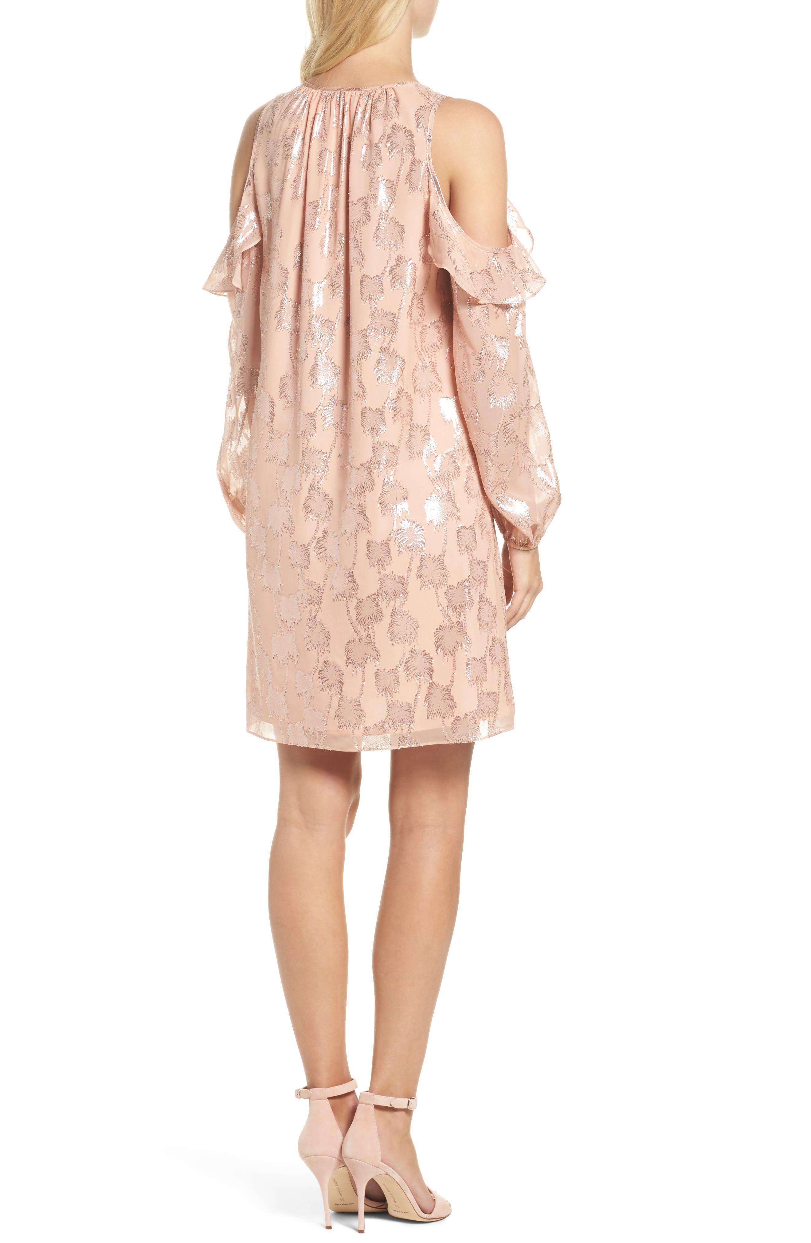 Marlyse Cold Shoulder Silk Dress,                             Alternate thumbnail 2, color,