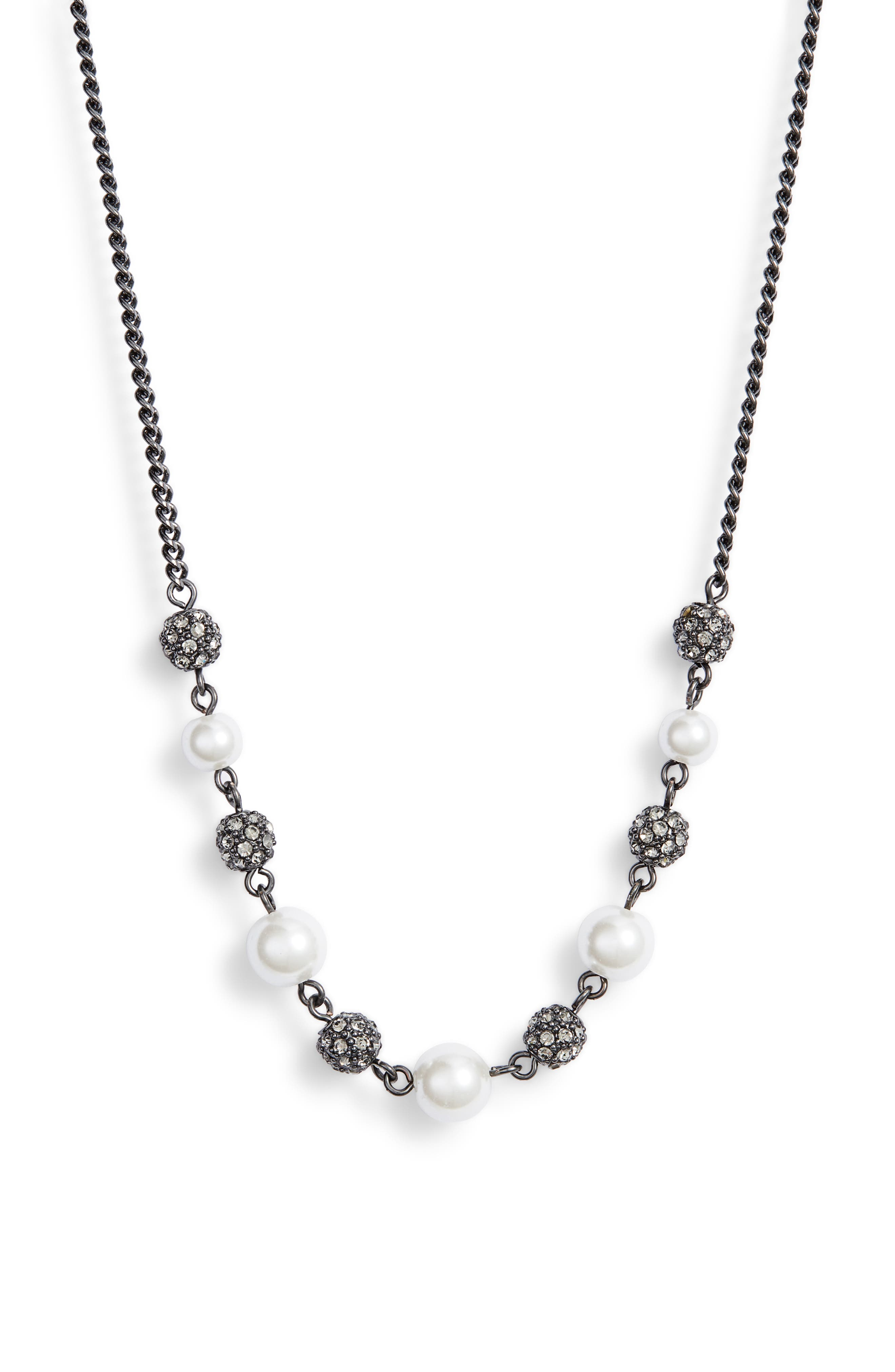 Bead & Crystal Frontal Necklace,                         Main,                         color, WHITE/ HEMATITE