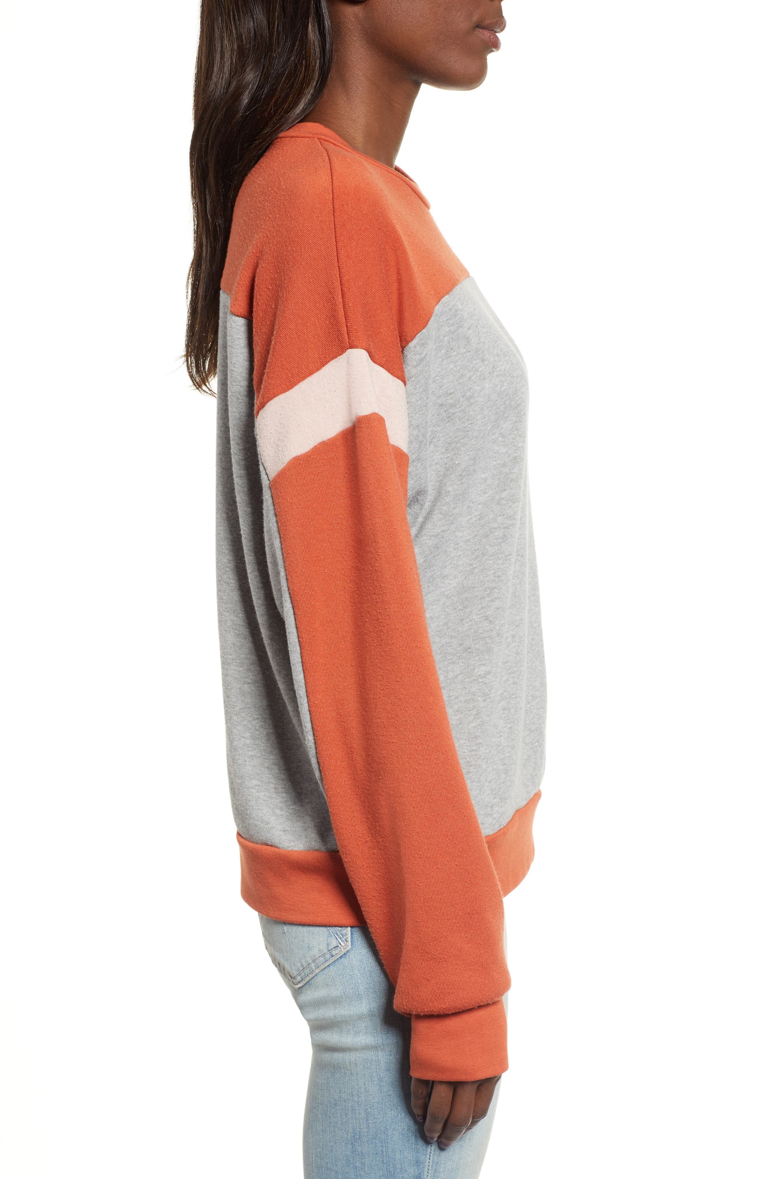 Rewind Colorblock Sweatshirt,                             Alternate thumbnail 3, color,                             HEATHER GREY/ SERRANO