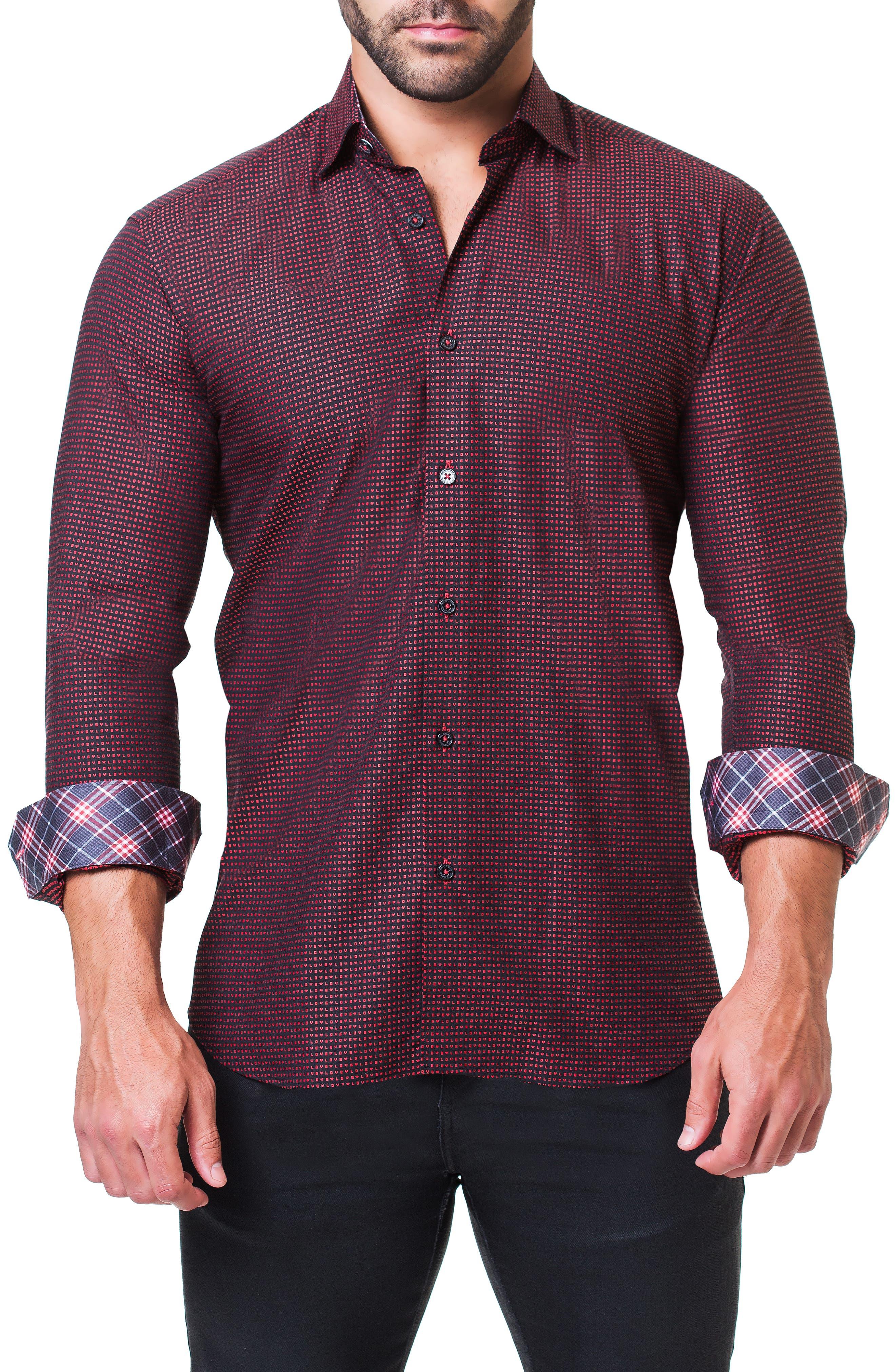 Fibonacci Love Trim Fit Print Sport Shirt,                             Alternate thumbnail 4, color,                             RED