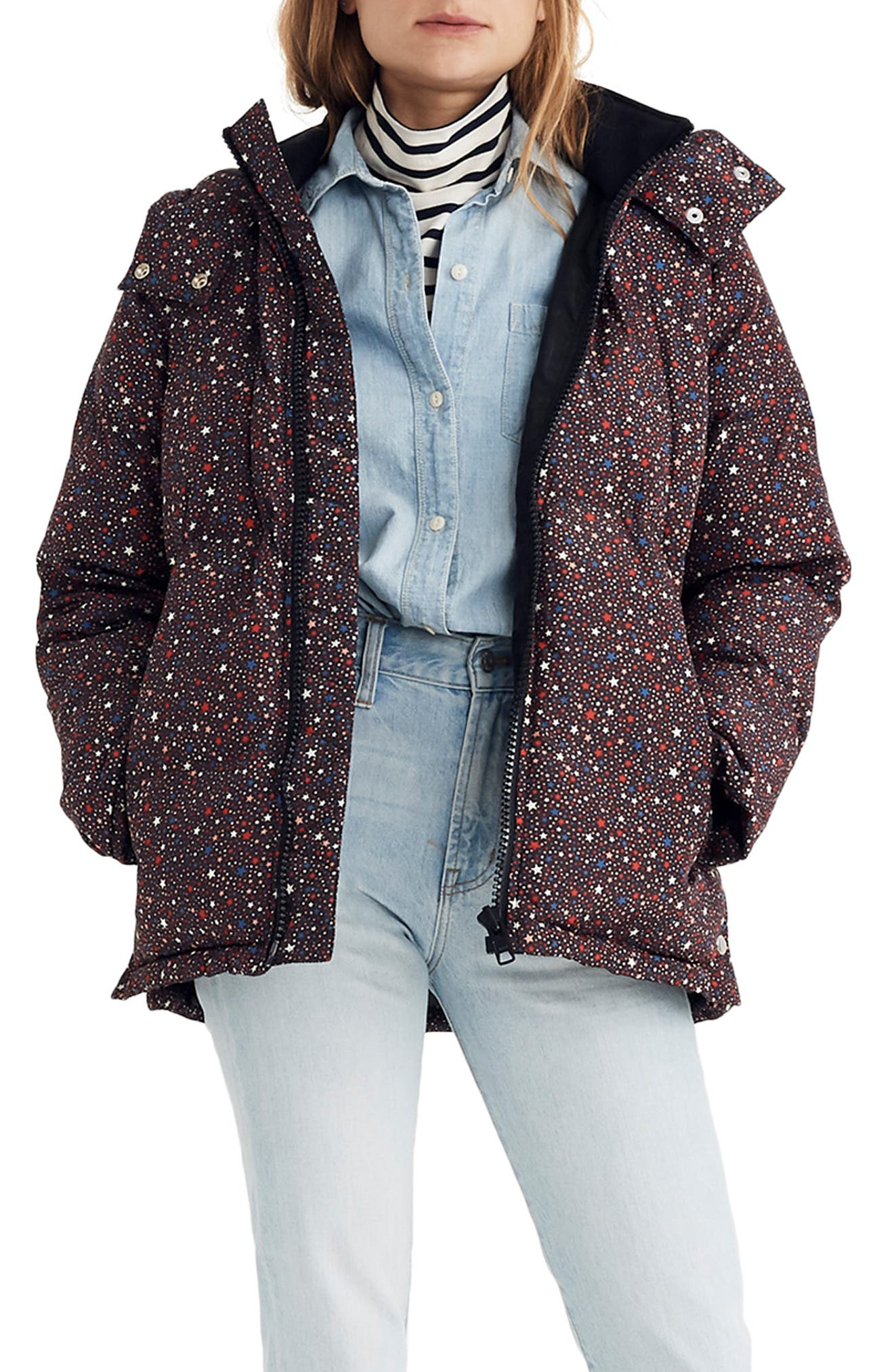 Starry Night Quilted Puffer Parka,                             Main thumbnail 1, color,                             DARK MEDITERRANEAN