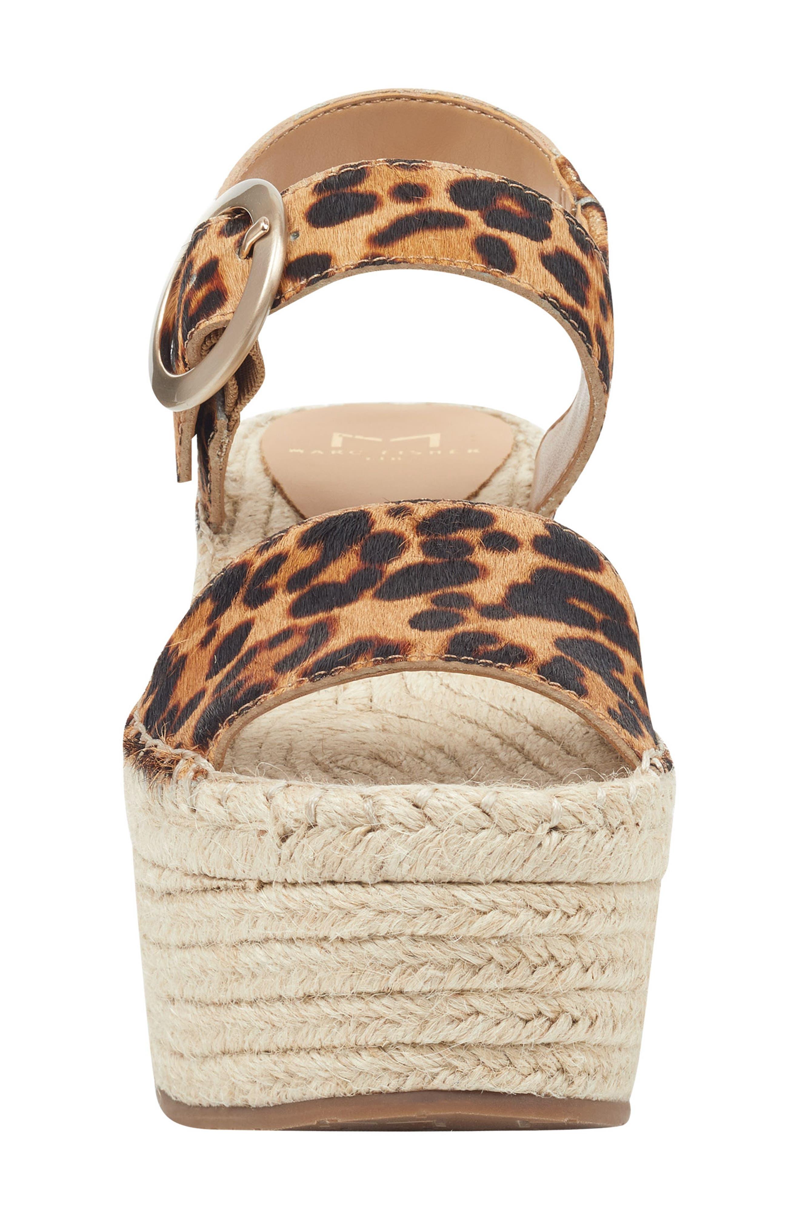 MARC FISHER LTD,                             Rexly Espadrille Platform Sandal,                             Alternate thumbnail 4, color,                             LEOPARD HAIR CALF