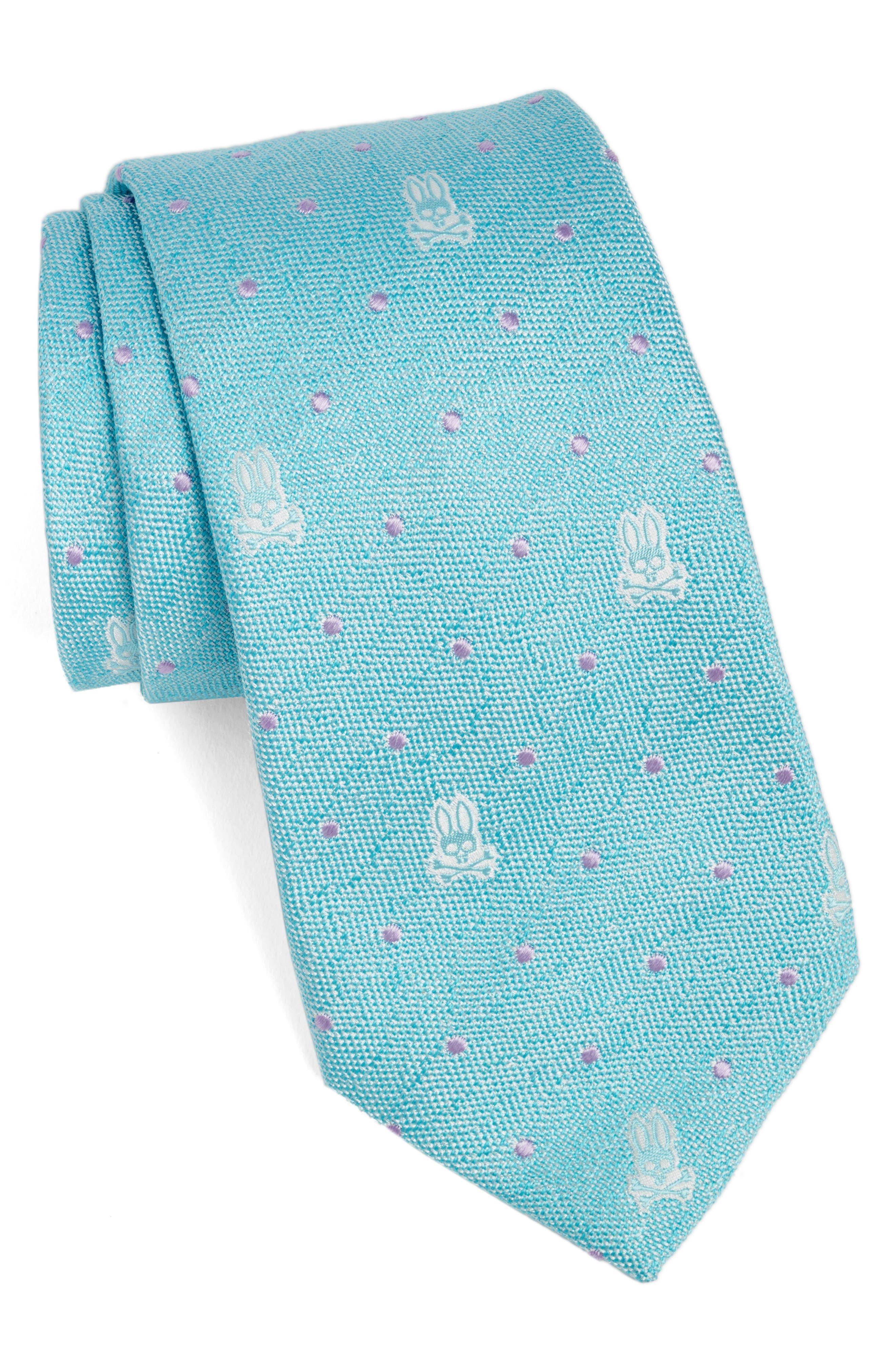 Bunny Dot Silk Tie,                             Main thumbnail 1, color,                             AQUA