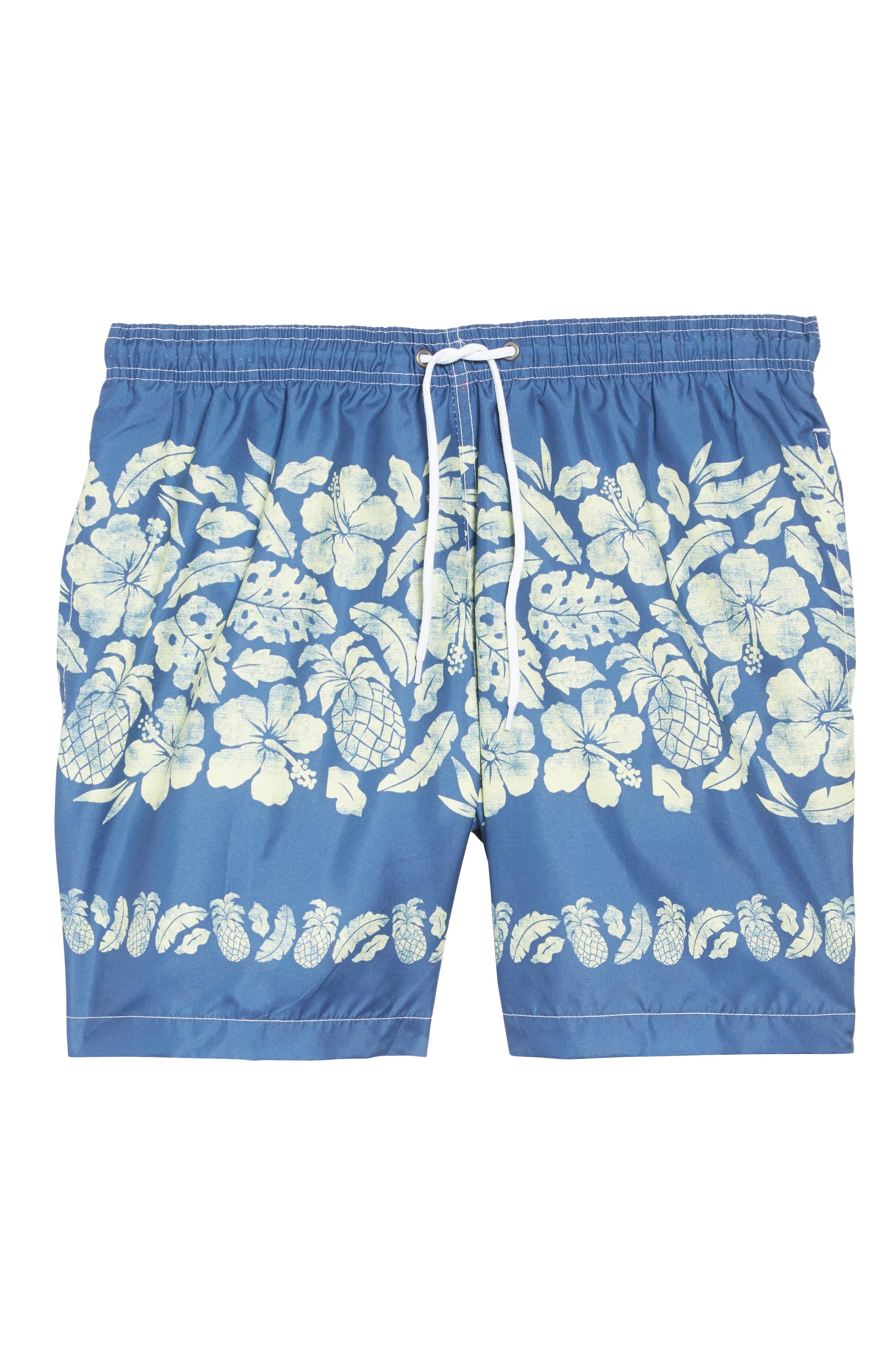 Placement Print Sano Swim Shorts,                             Alternate thumbnail 6, color,                             PINEAPPLE BORDER