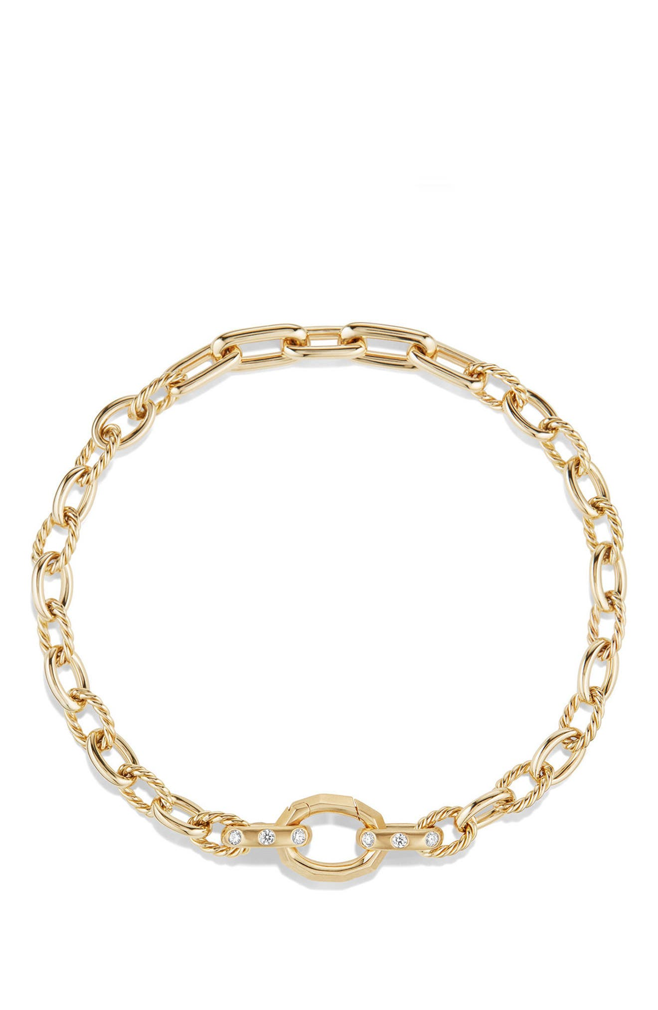 Stax Chain Bracelet with Diamonds in 18K Gold,                             Alternate thumbnail 3, color,                             YELLOW GOLD/ DIAMOND