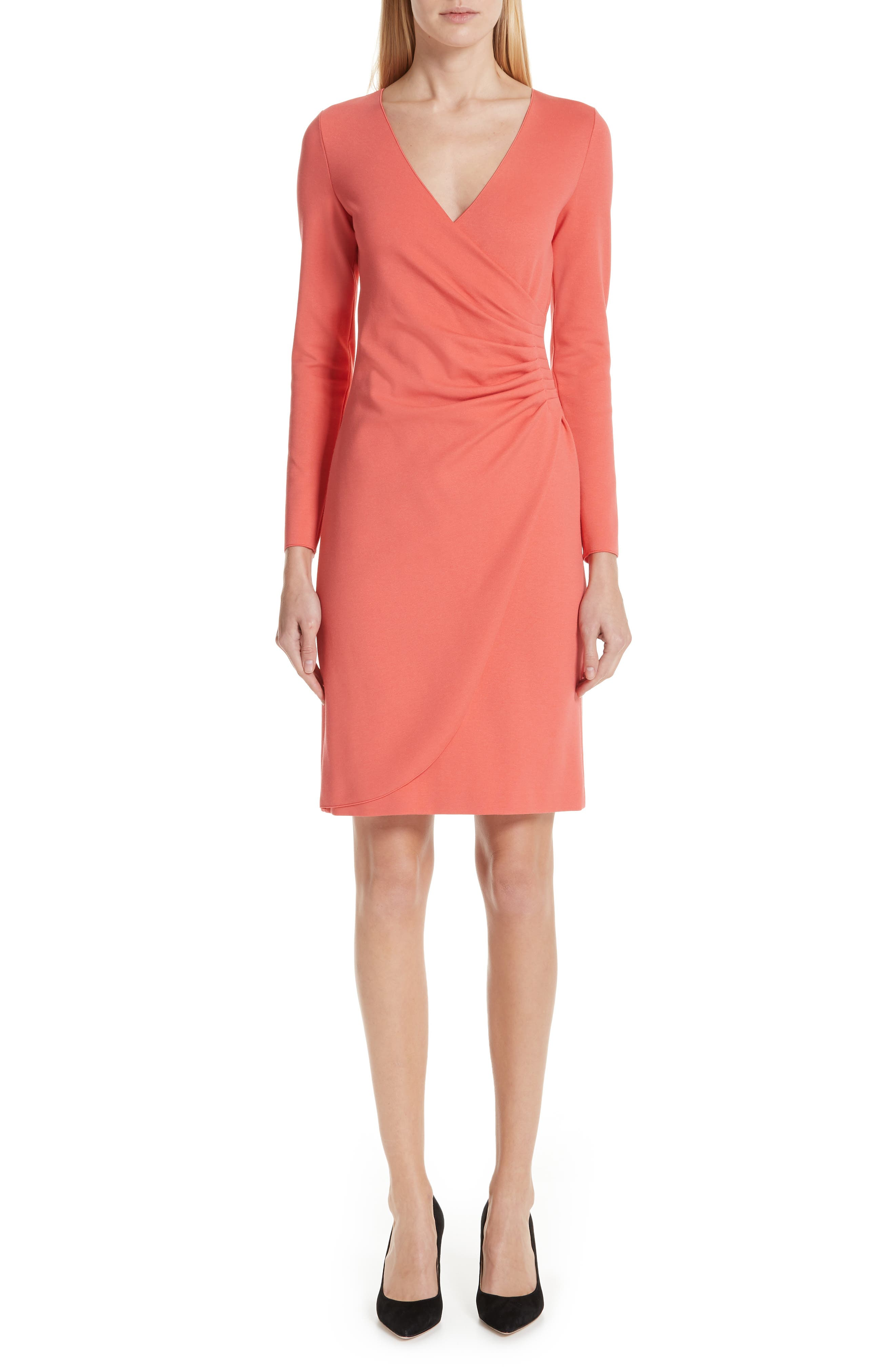 EMPORIO ARMANI,                             Punto Milano Faux Wrap Dress,                             Main thumbnail 1, color,                             SUNRISE RED