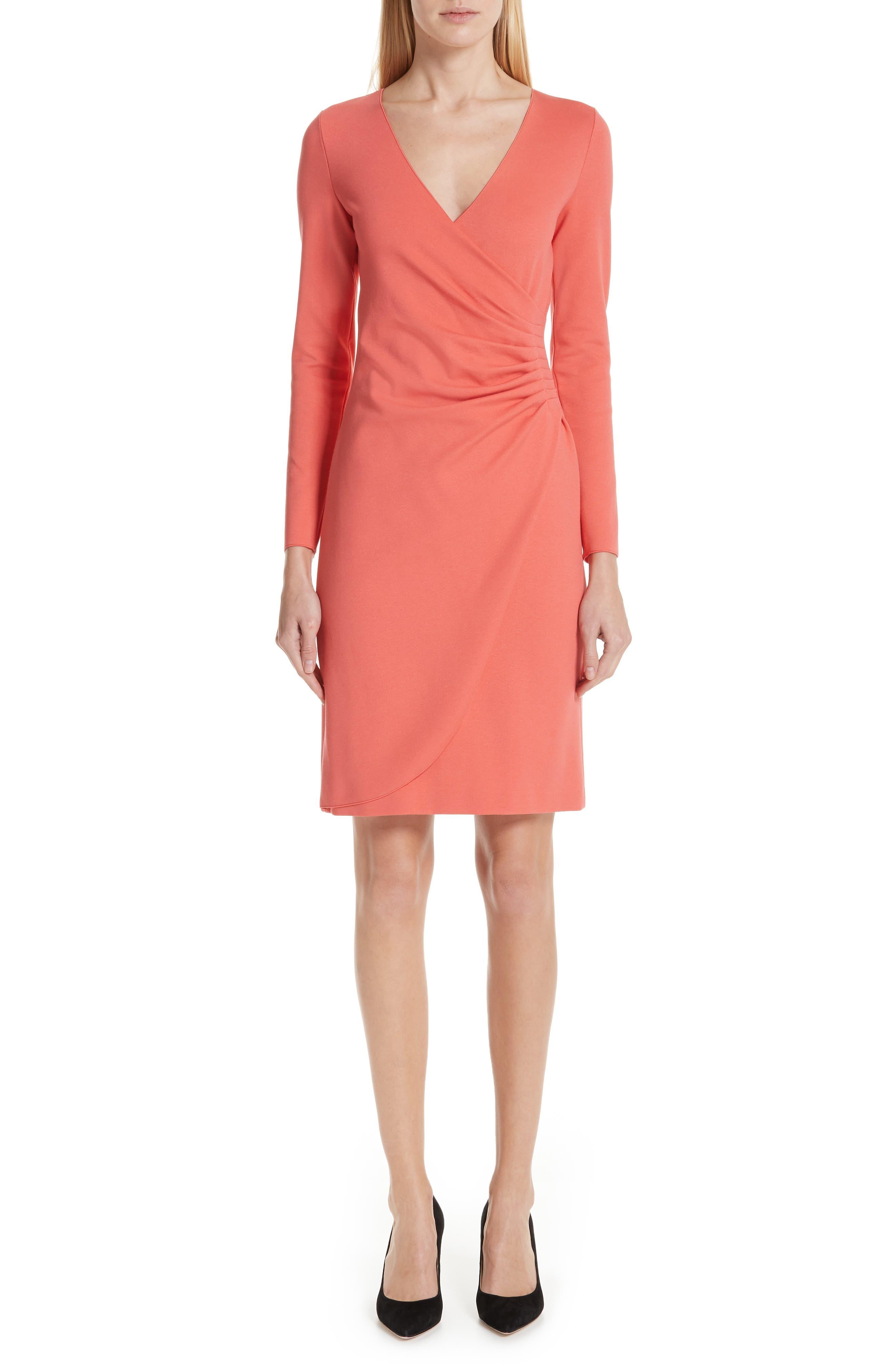 EMPORIO ARMANI Punto Milano Faux Wrap Dress, Main, color, SUNRISE RED