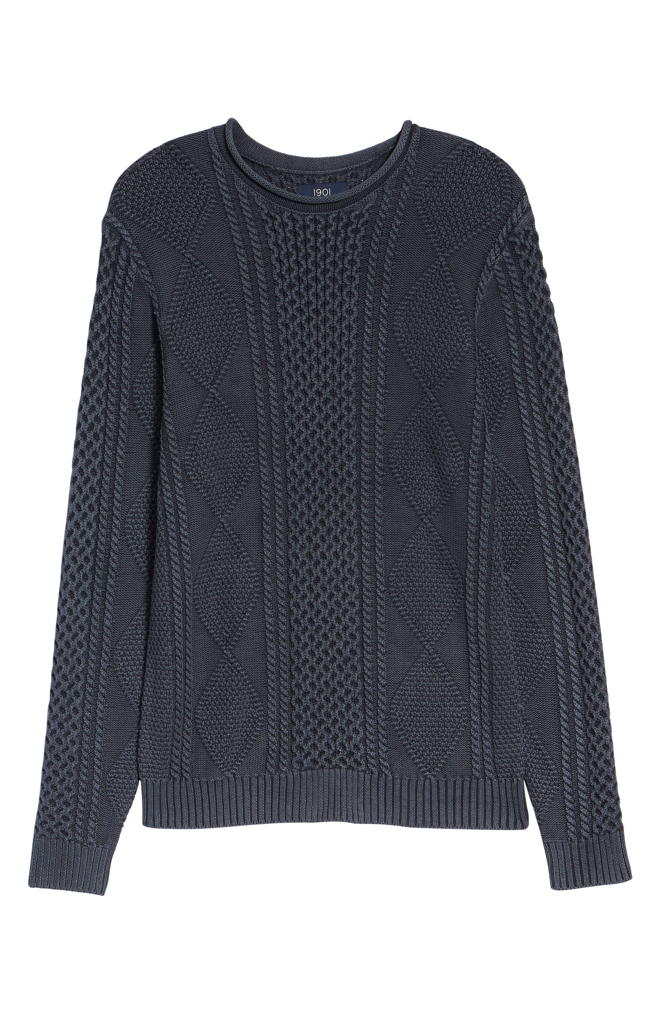 Fisherman Sweater,                             Alternate thumbnail 6, color,                             NAVY IRIS
