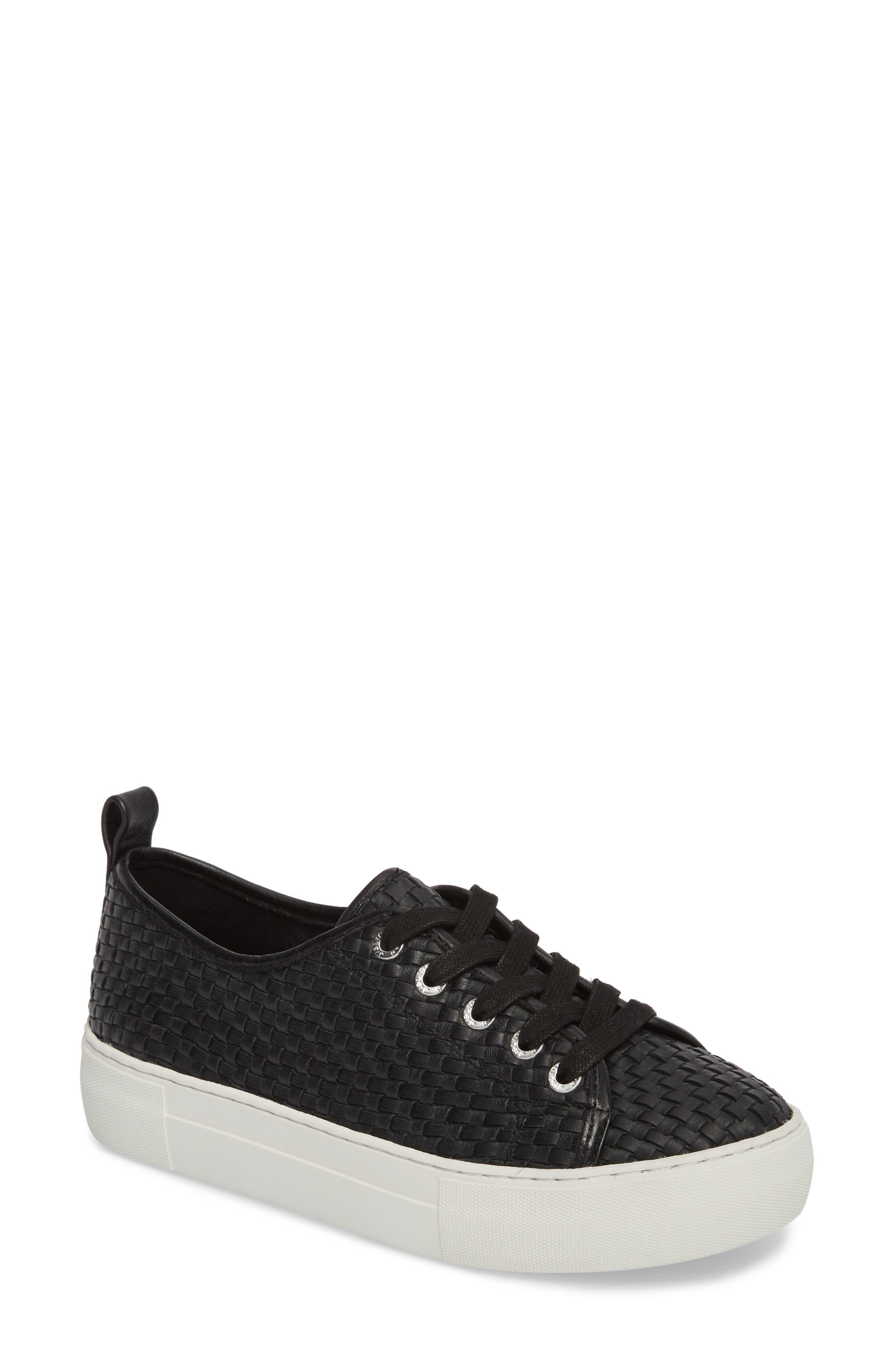 Artsy Woven Platform Sneaker,                             Main thumbnail 1, color,                             BLACK LEATHER