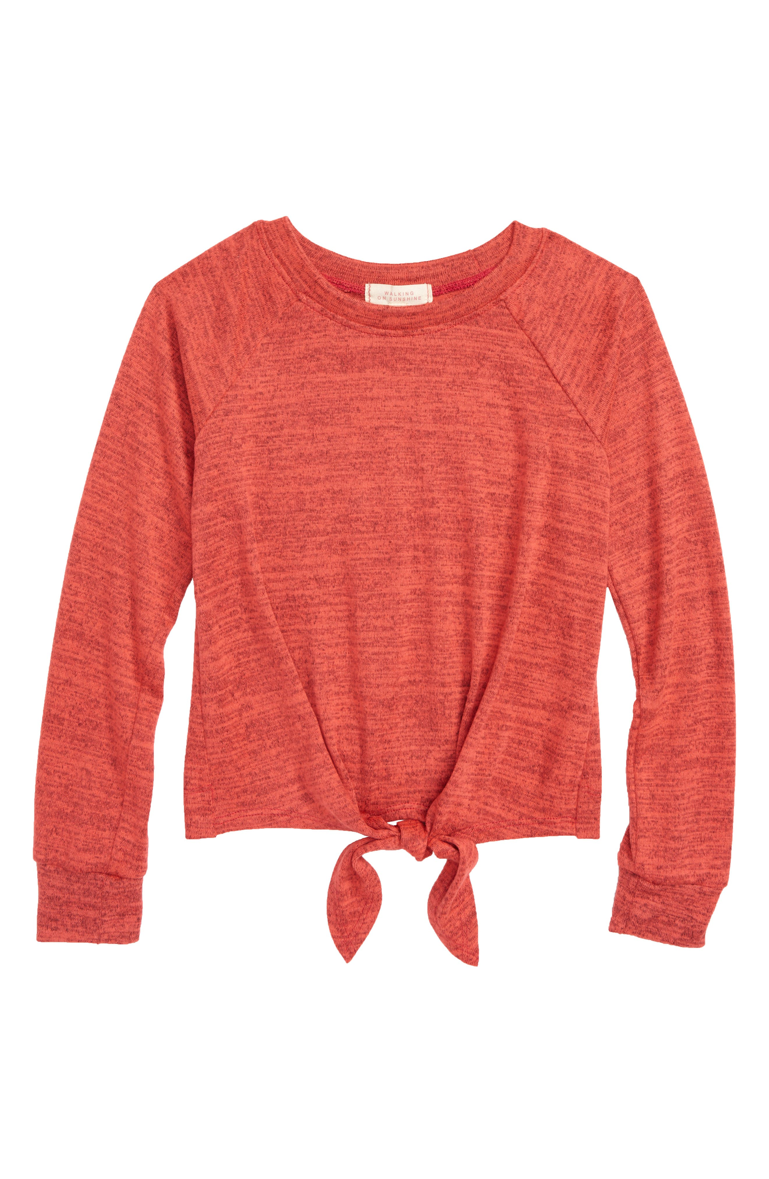 Tie Front Raglan Sweatshirt,                         Main,                         color, RED
