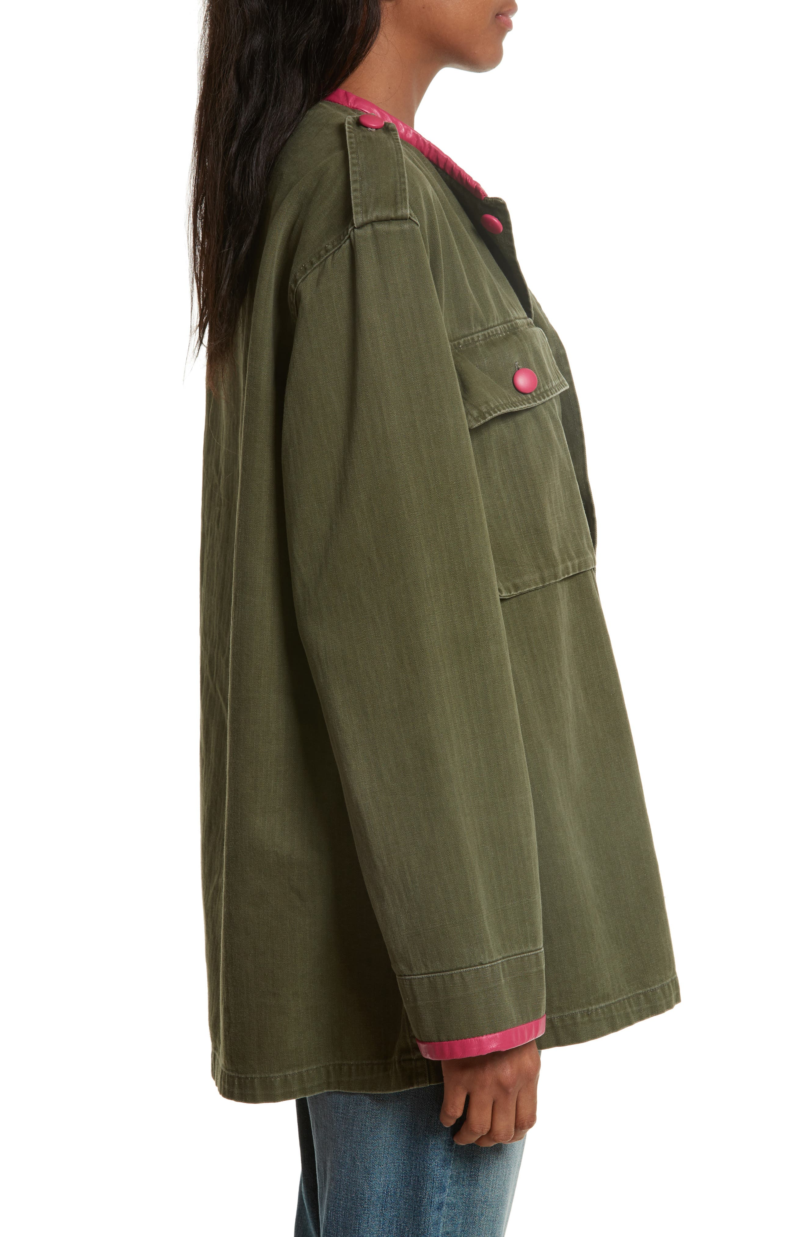 Leather Trim Vintage Army Jacket,                             Alternate thumbnail 3, color,                             300
