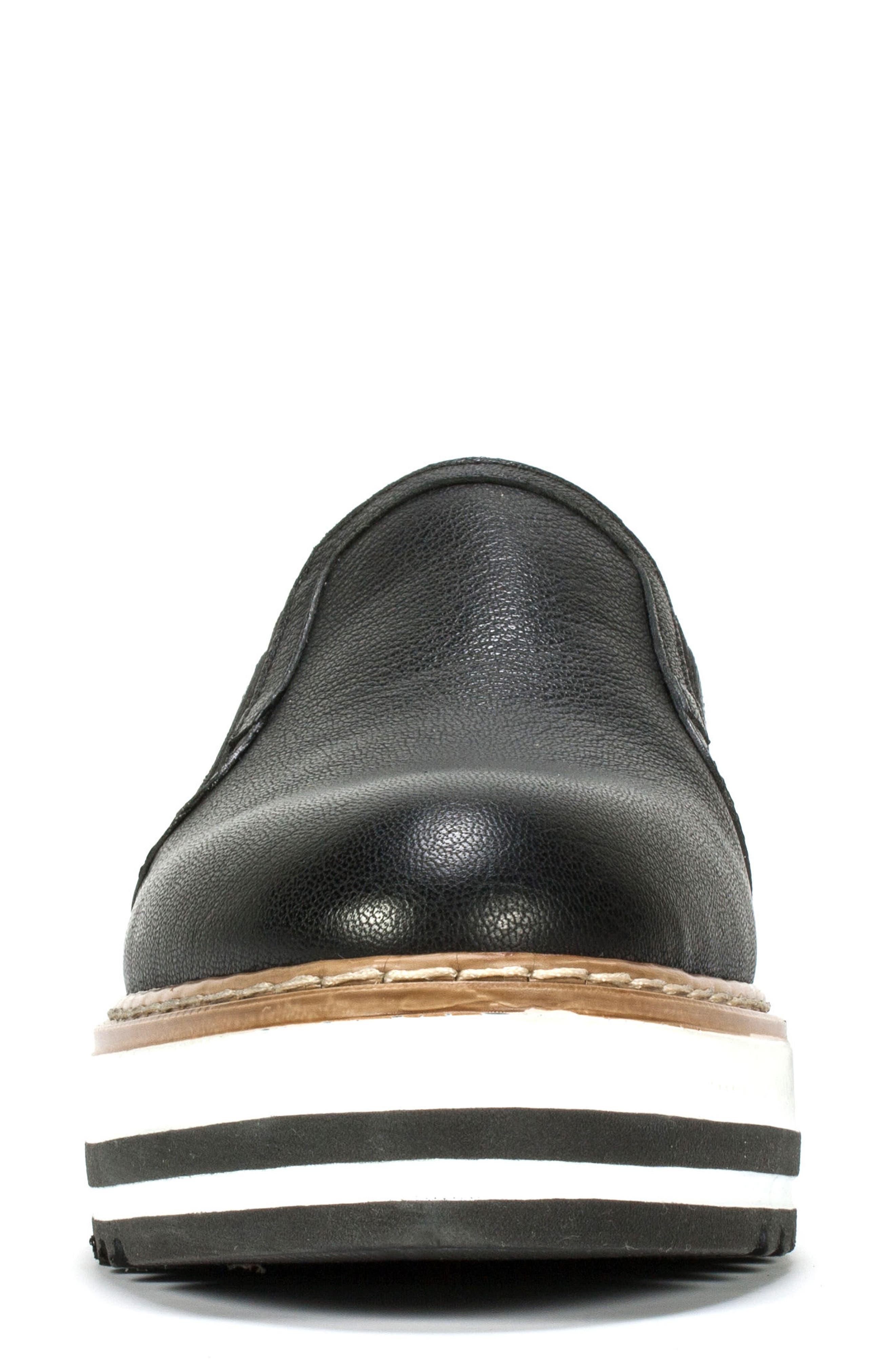 'Braxton' Platform Slip-On,                             Alternate thumbnail 4, color,                             BLACK LEATHER