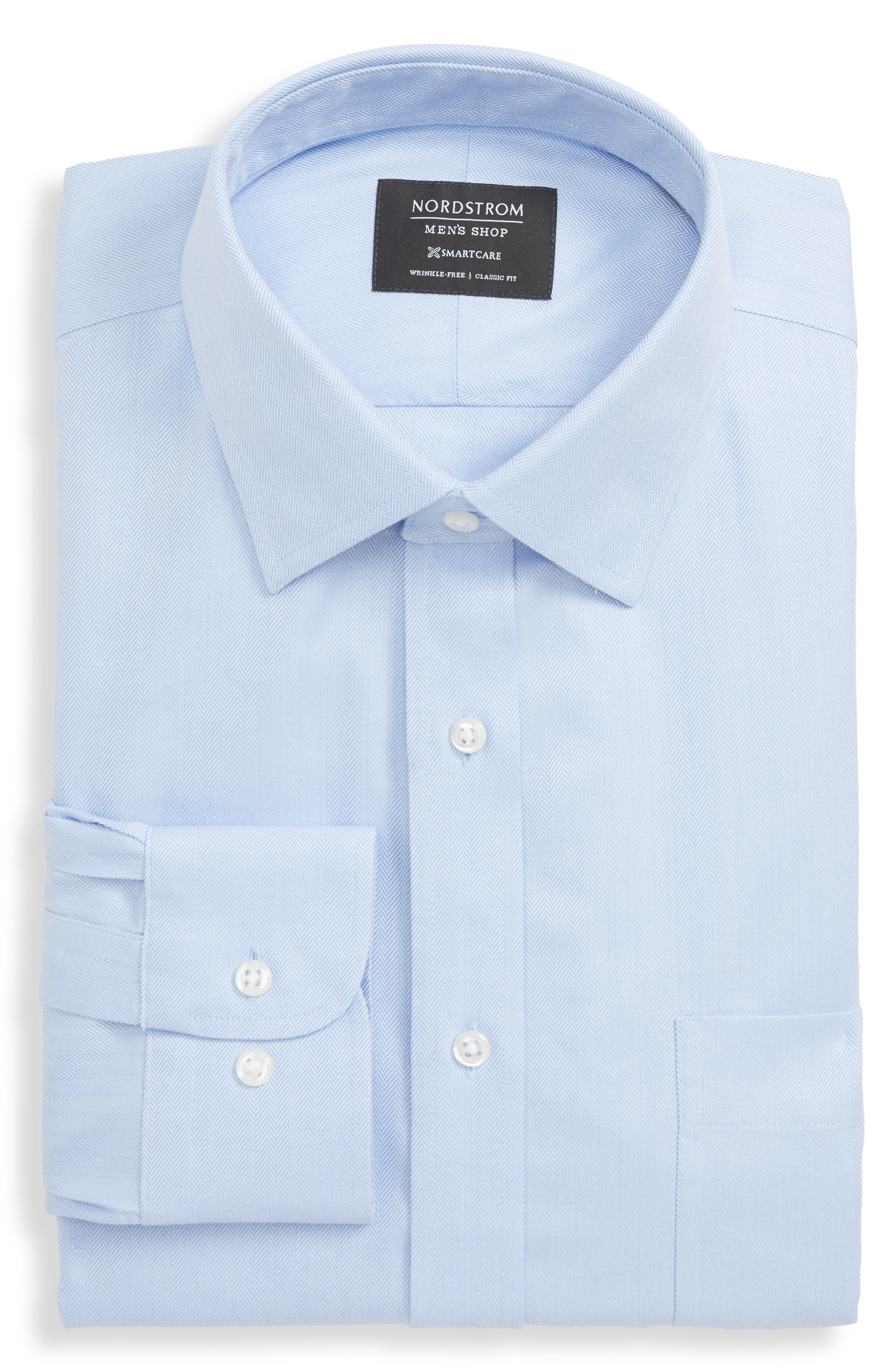 Nordstrom Shop Smartcare(TM) Classic Fit Herringbone Dress Shirt - Blue