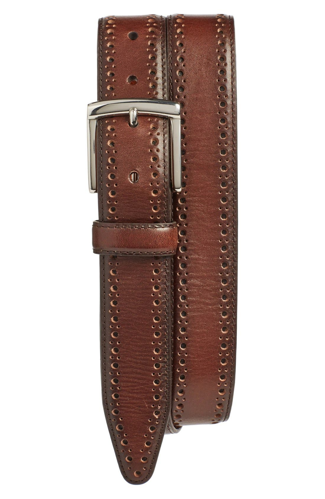 Perforated Leather Belt,                         Main,                         color, MAHOGANY
