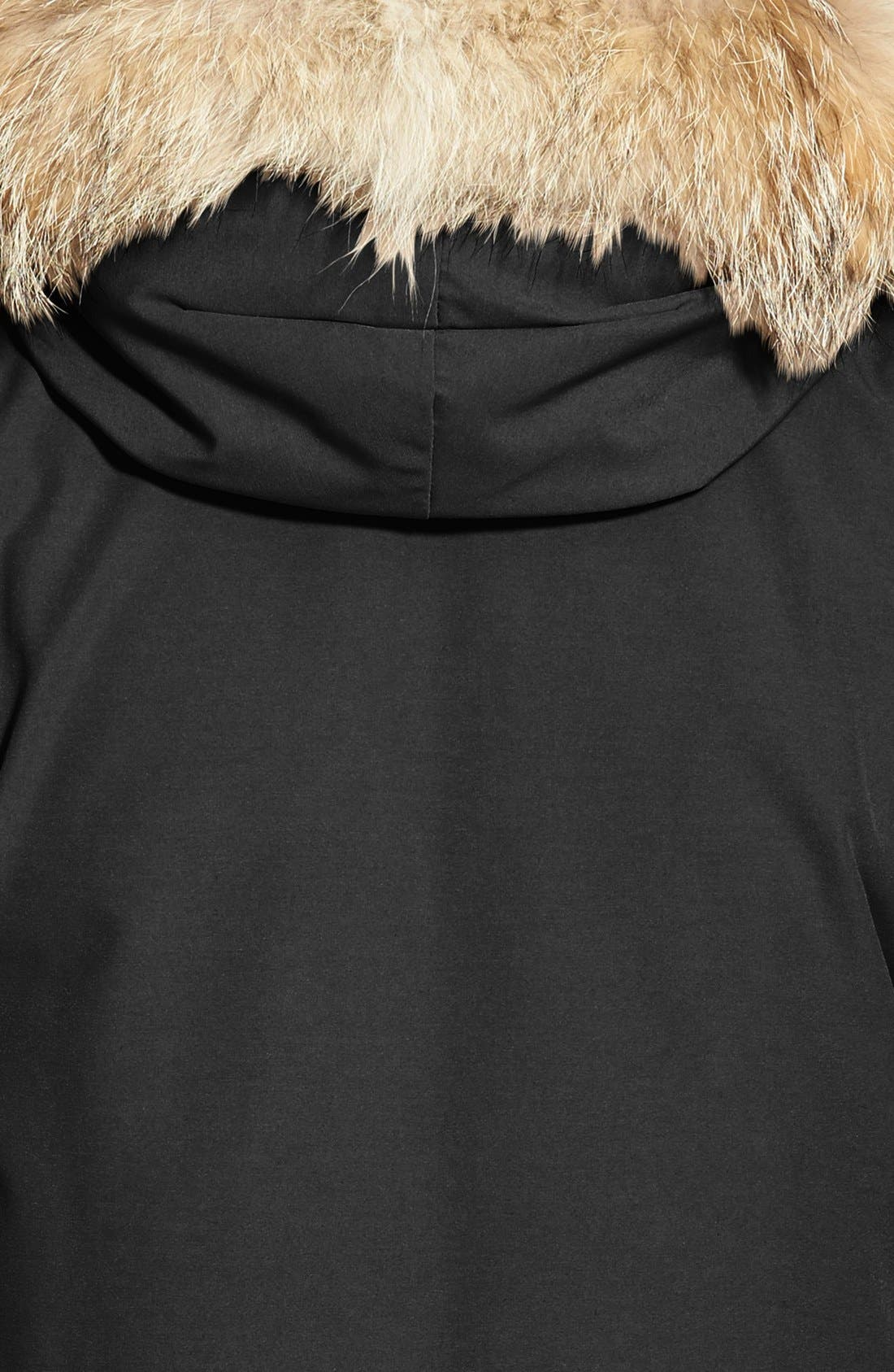 Citadel Slim Fit Parka with Genuine Coyote Fur,                             Alternate thumbnail 3, color,                             BLACK